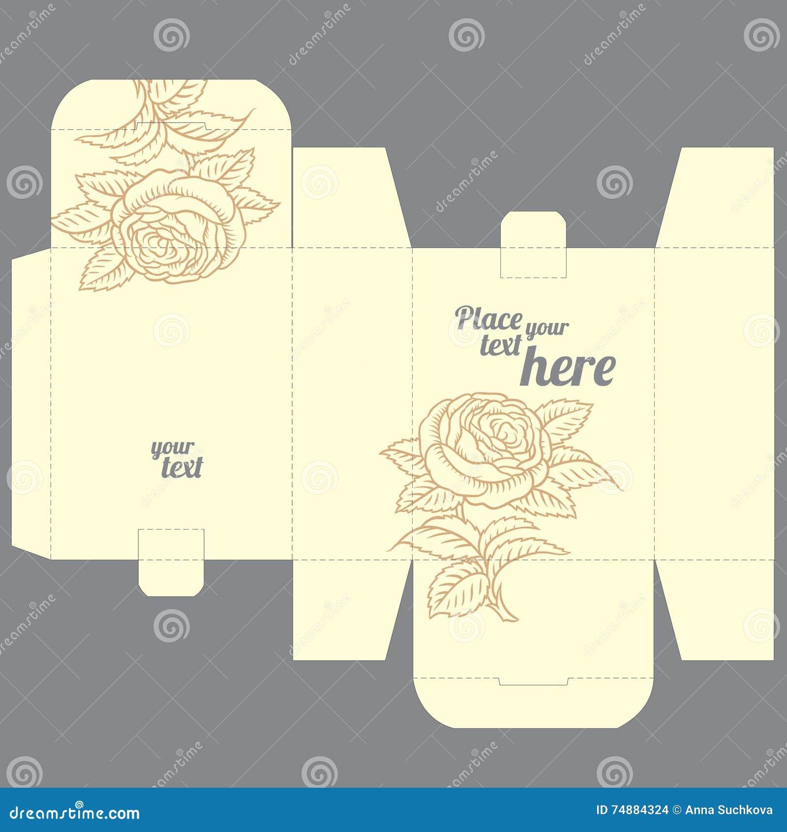 El favor de la boda del regalo muere plantilla del diseño de la caja con el modelo de la naturaleza