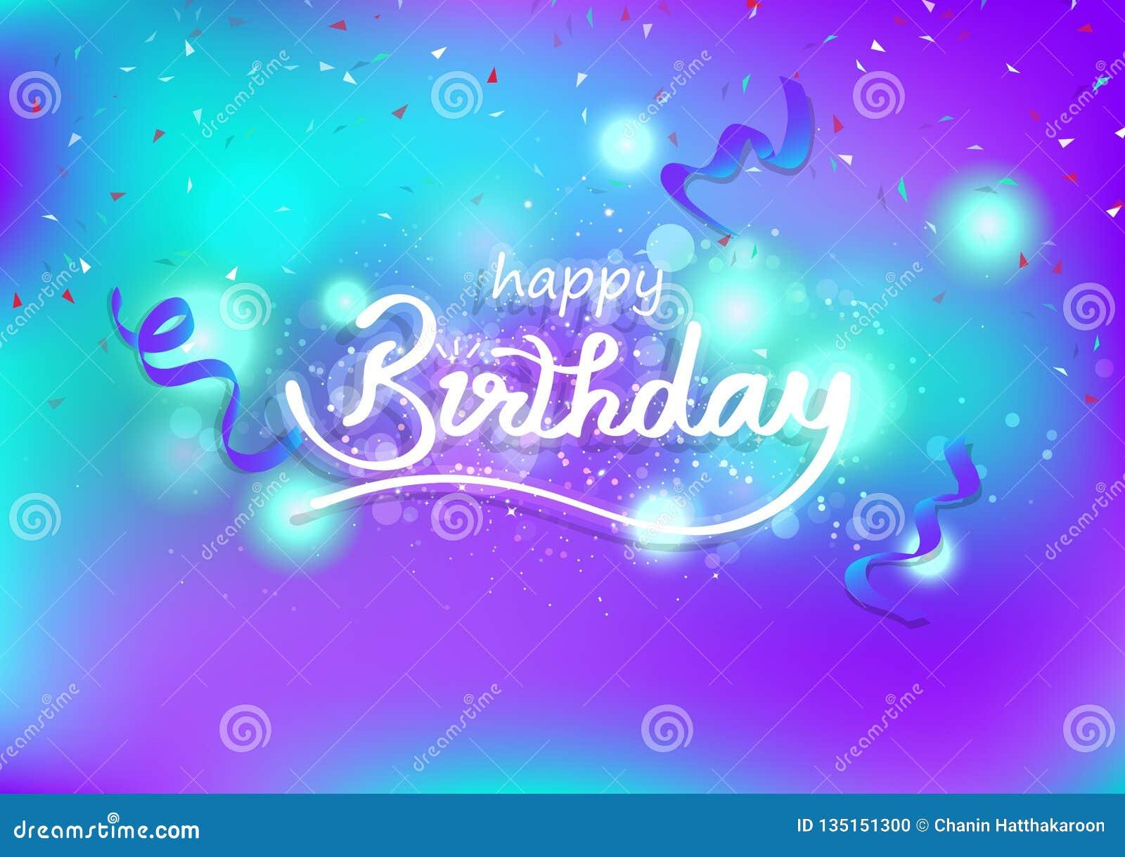 El feliz cumpleaños, el diseño creativo caligráfico y las estrellas fugaces mágicas, celebración de las cintas adornan, contexto
