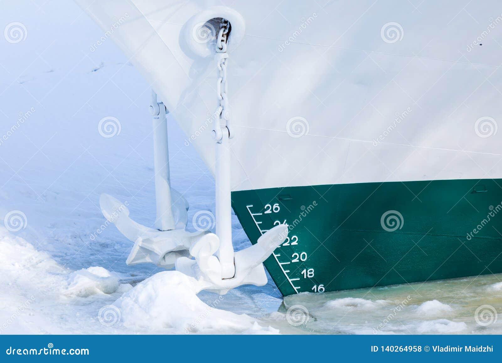 El final de la navegación La nave o el buque está en el cautiverio del hielo y de la nieve