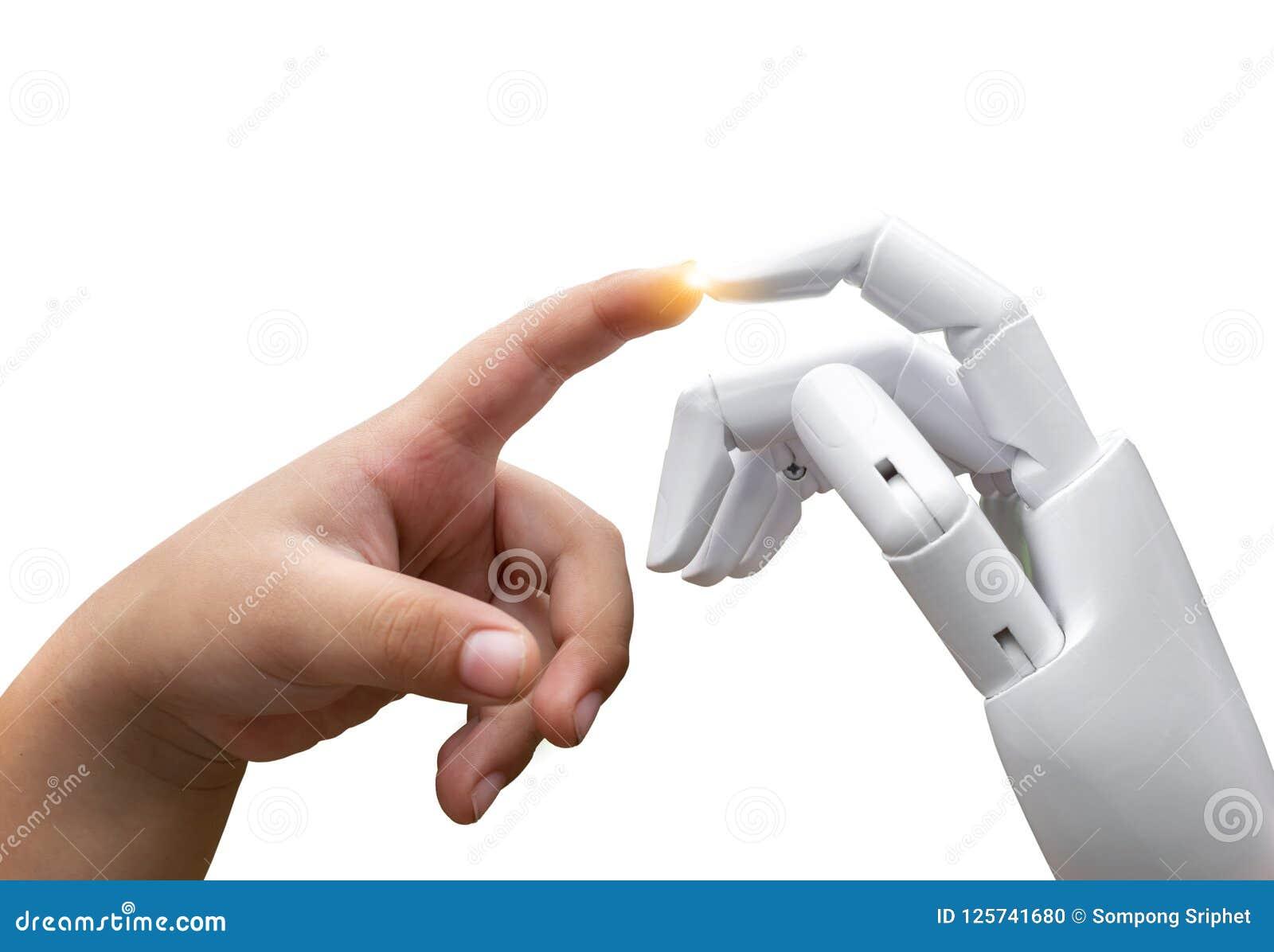 El finger humano de la mano de la inteligencia artificial del niño futuro robótico de la transición golpeó la prensa de la mano d