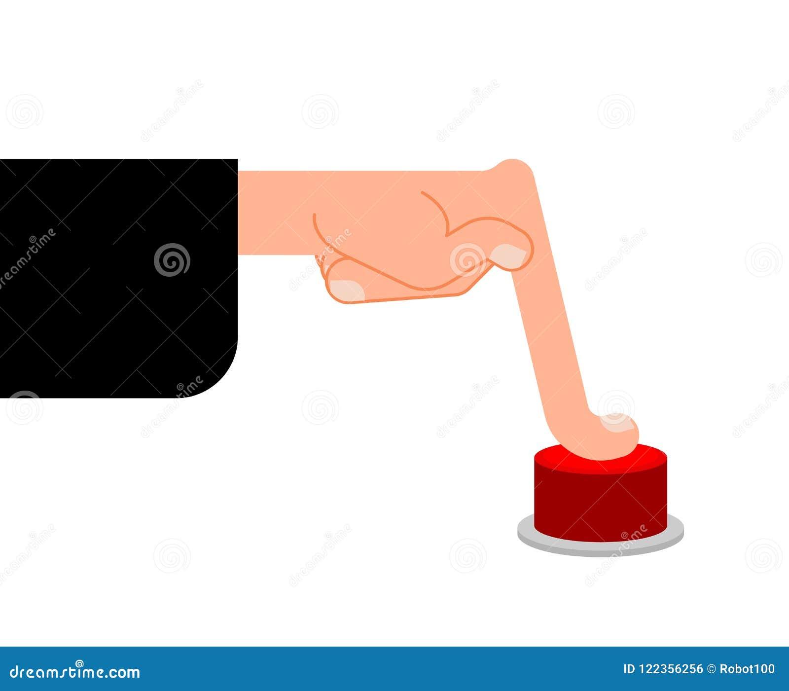El finger presiona el botón rojo Ejemplo del vector de la prensa de la mano