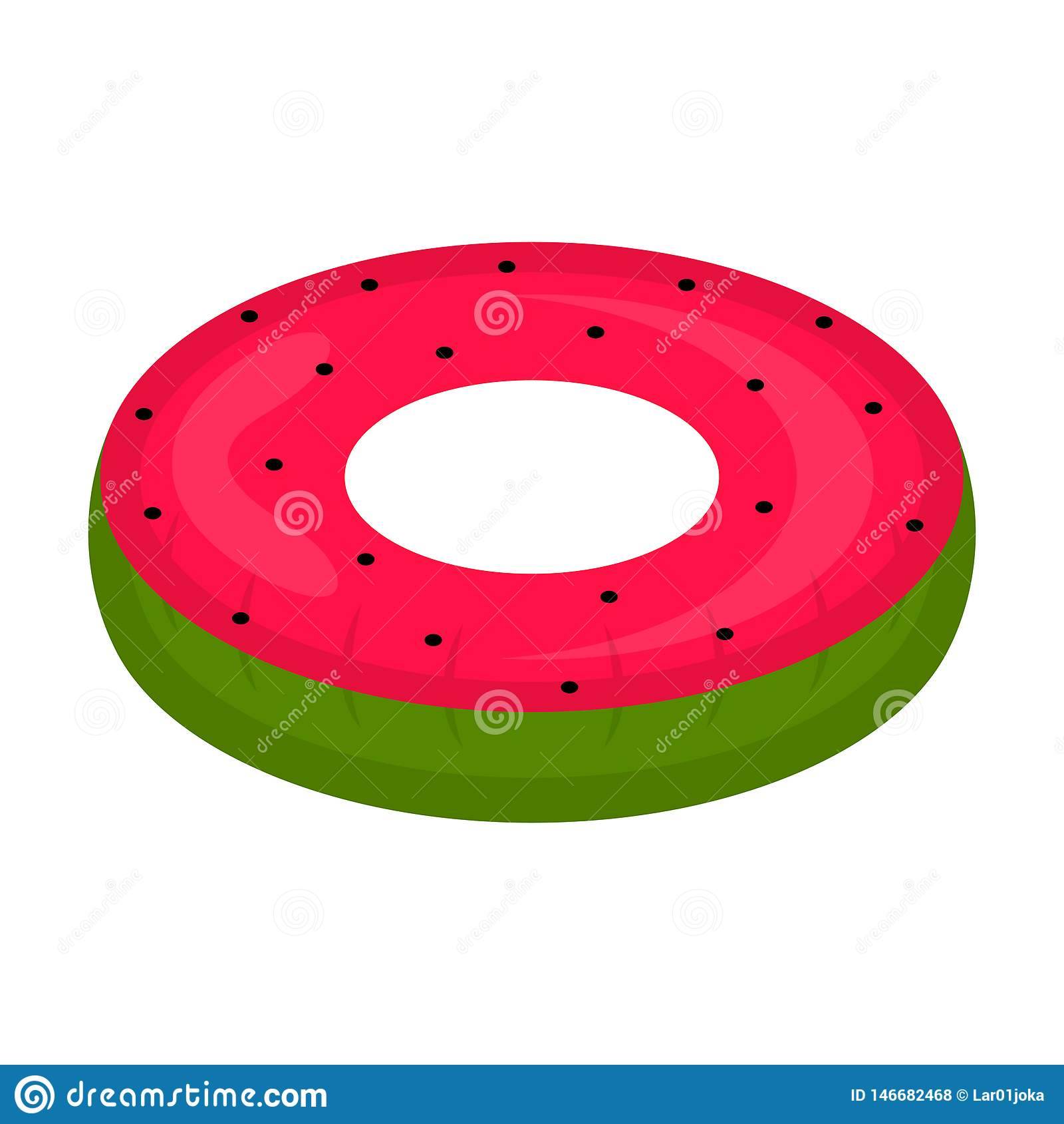 El flotador aislado de la piscina formó imagen de la sandía