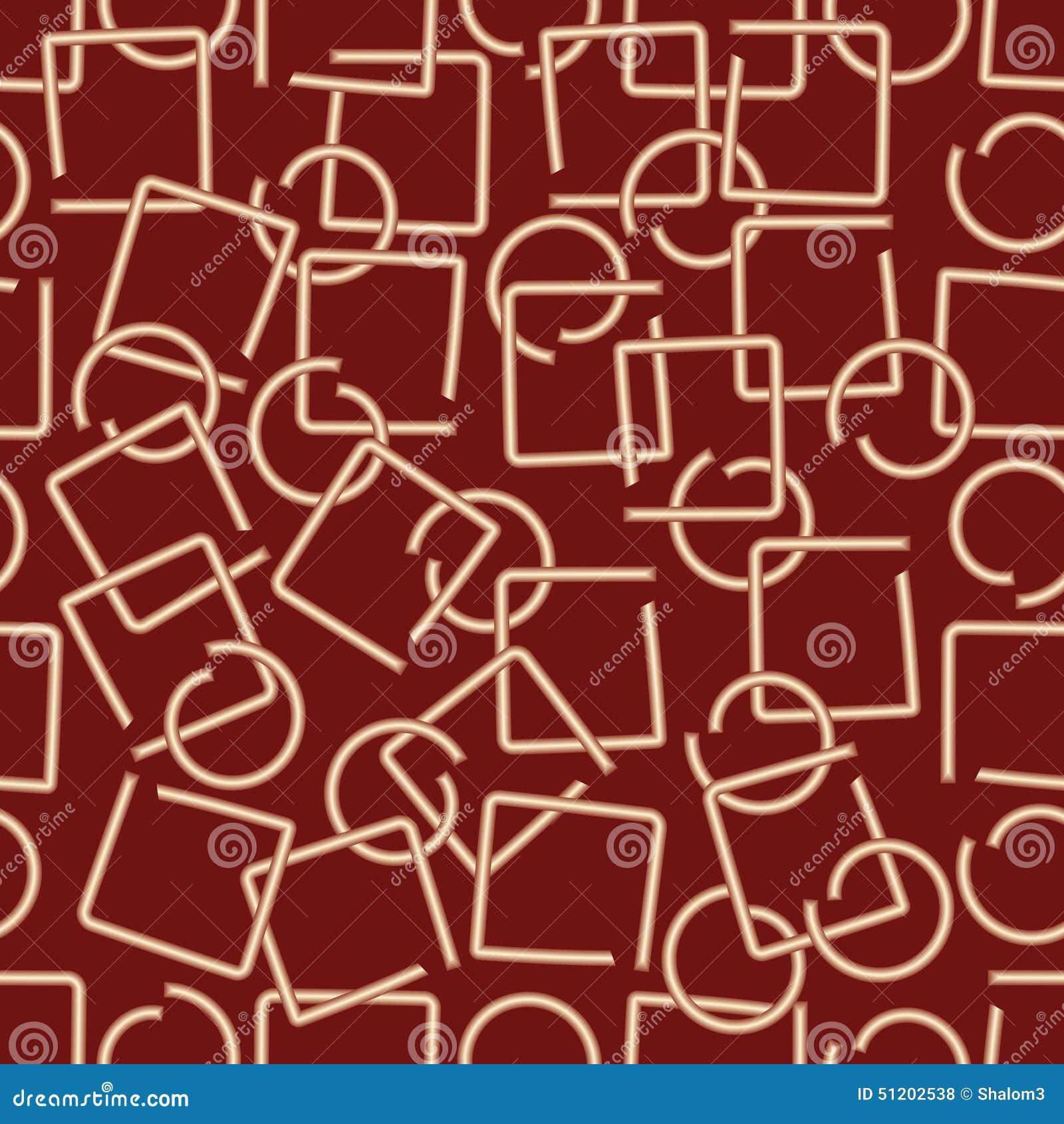 El fondo abstracto moderno con el alambre de cobre amarillo fracturó elementos en forma del cuadrado y del círculo en área rojo o
