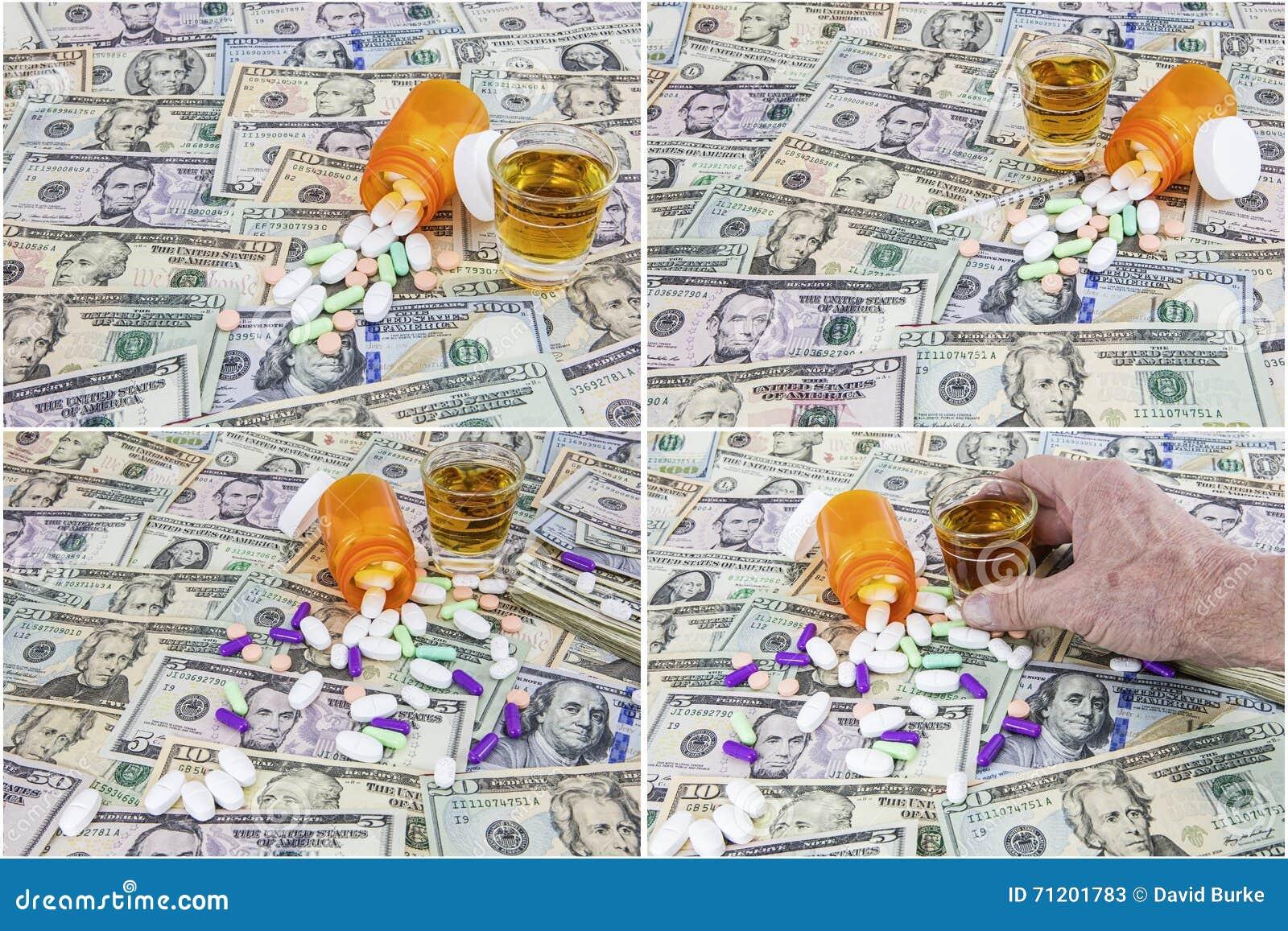 El fondo americano del efectivo del dinero droga el collage de los licores del alocohol