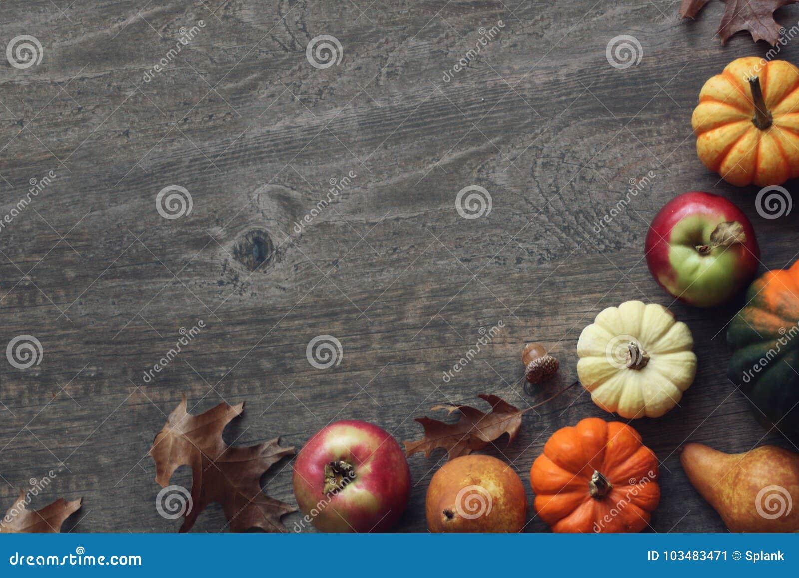 El fondo colorido de la cosecha de la acción de gracias de la caída con las manzanas, las calabazas, la fruta de la pera, las hoj