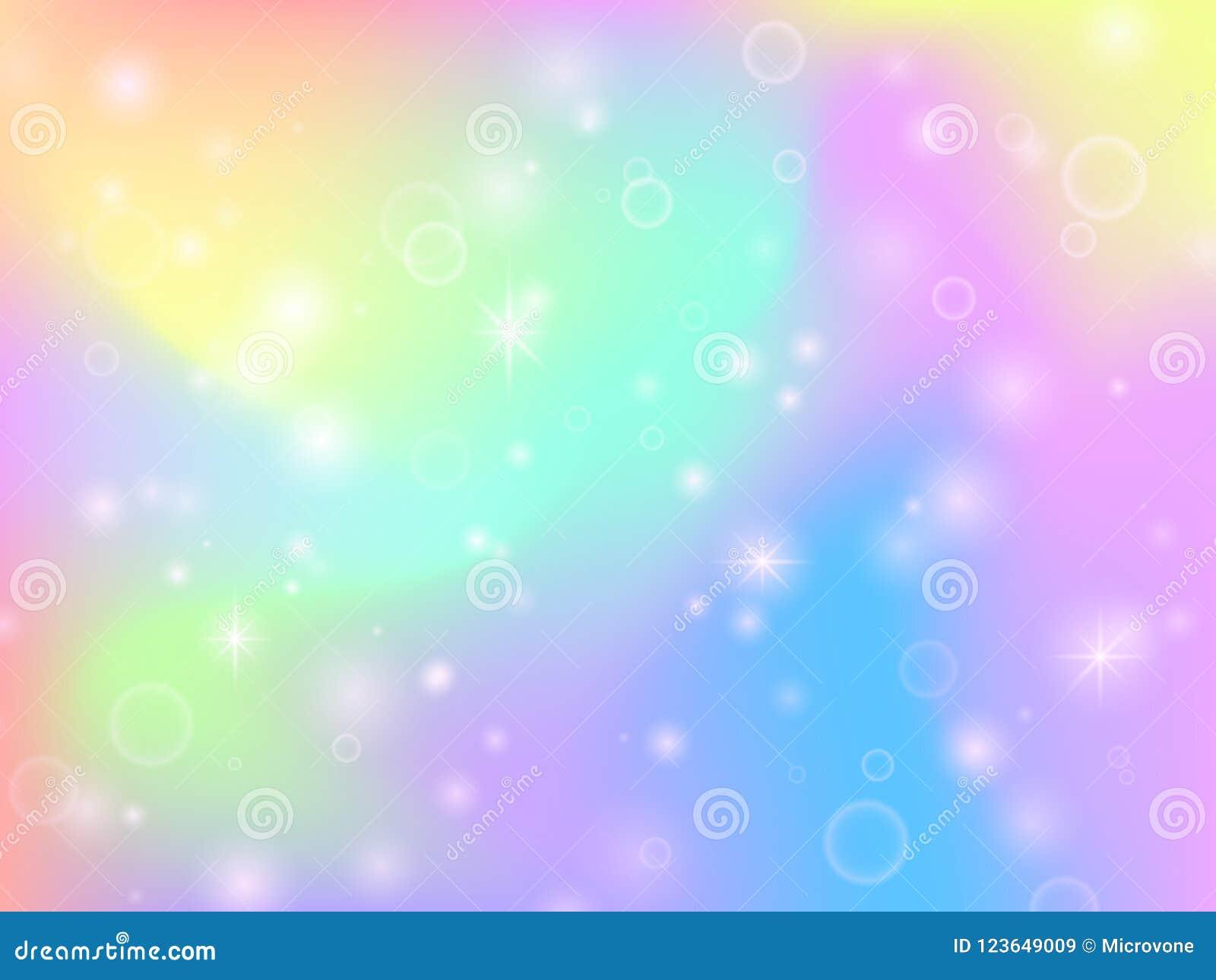 El fondo de hadas del arco iris del unicornio con magia chispea y protagoniza Contexto multicolor del vector del extracto de la f