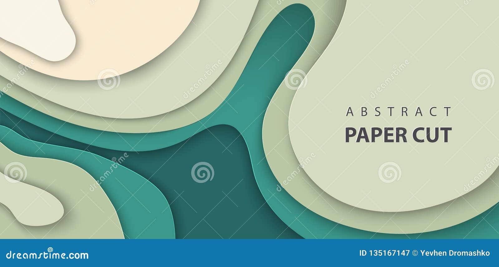 El fondo del vector con el papel de color verde oscuro del color cortó formas de ondas estilo de papel abstracto del arte 3D, dis