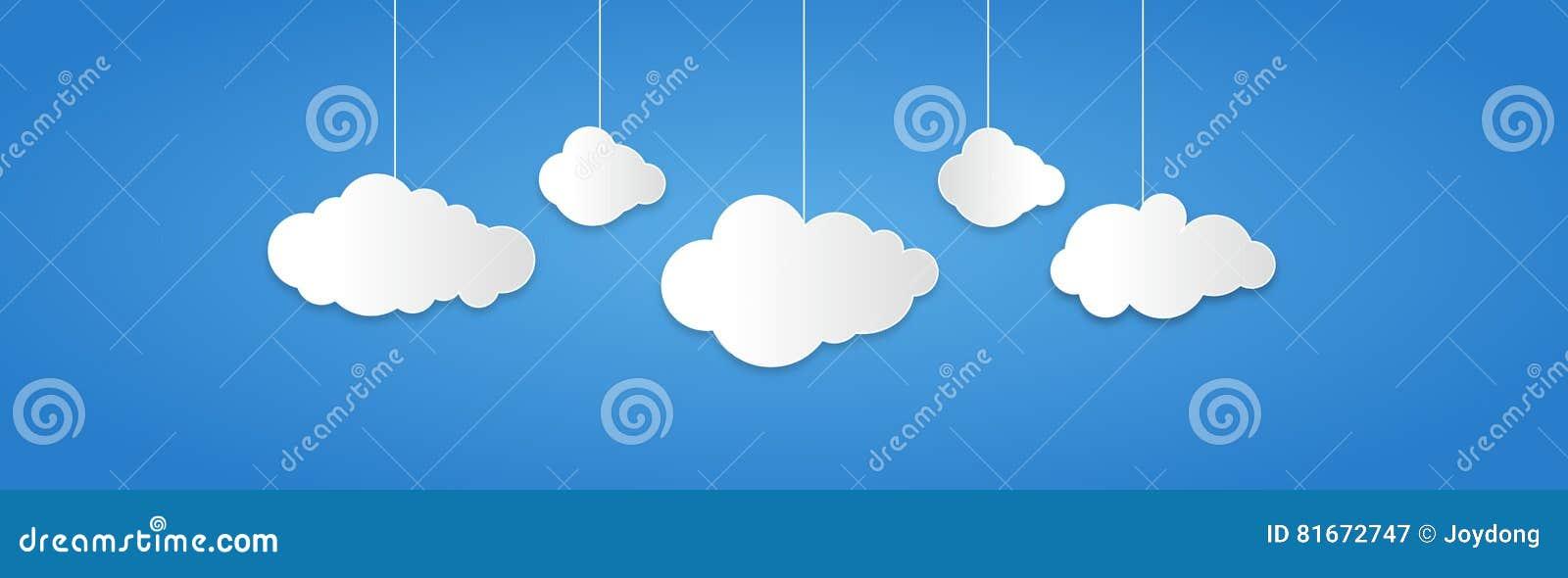 El fondo integrado por el Libro Blanco se nubla sobre azul Ilustración del vector