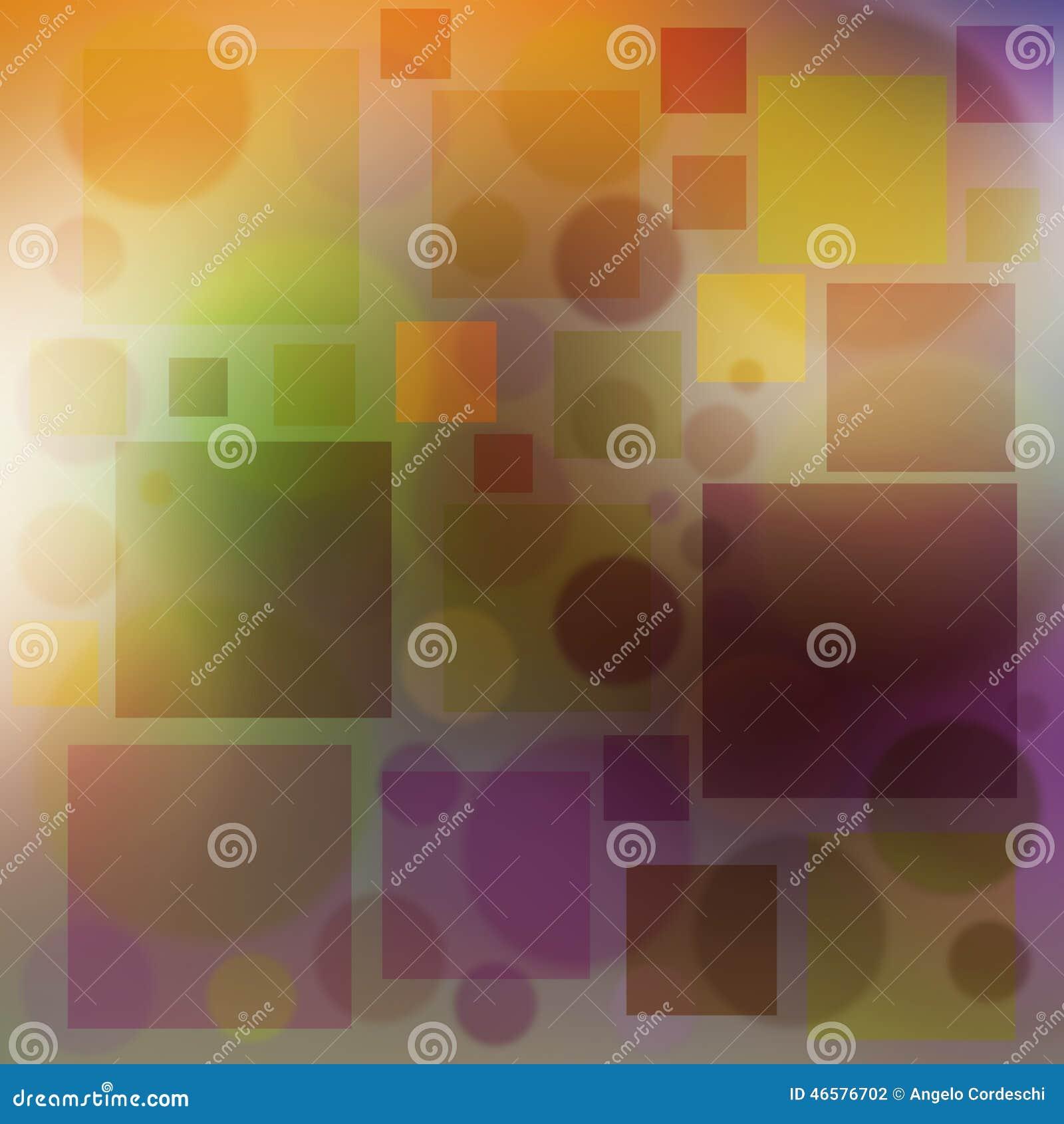 El fondo multicolor burbujea los círculos y color suave del cuadrado