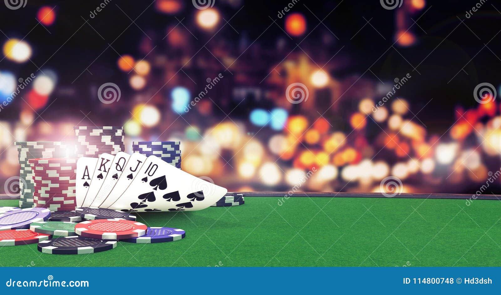 El fondo real rasante del póker con el casino salta en la tabla verde