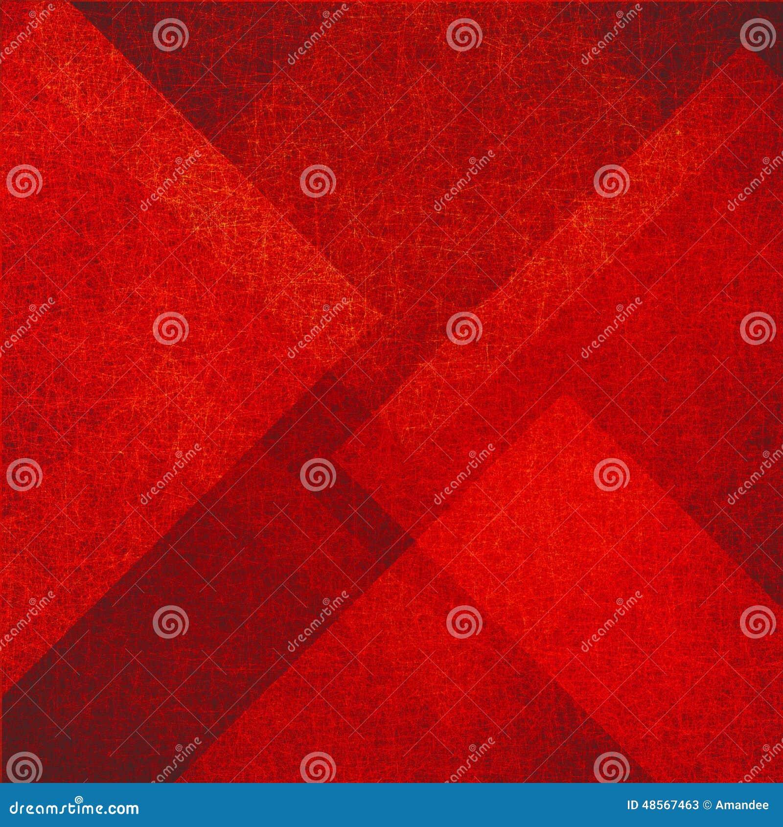 El fondo rojo abstracto con el triángulo y el diamante forma en modelo al azar con textura del vintage