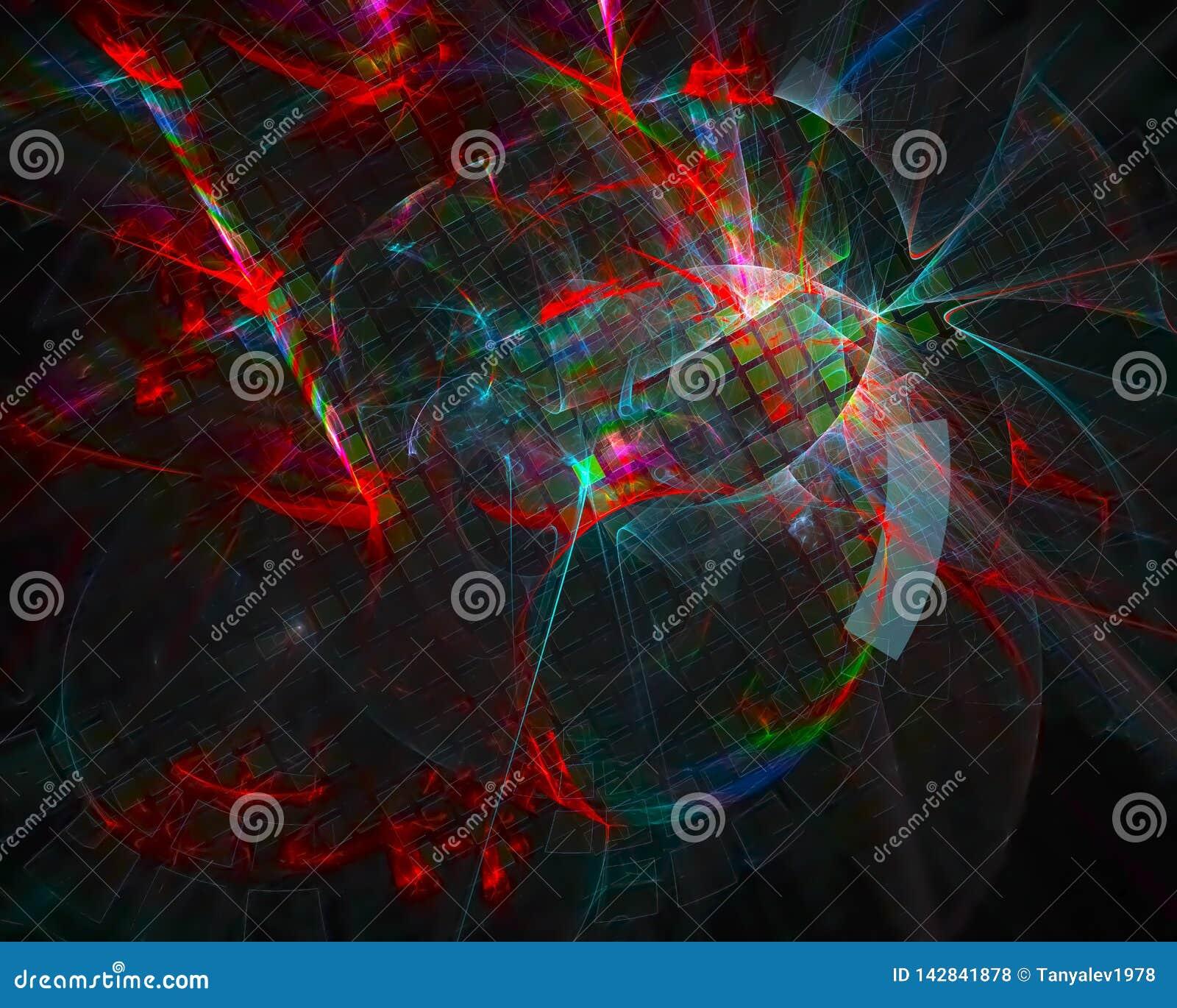 El fractal digital abstracto, diseño vibrante de la plantilla de la fantasía rinde, movimiento, remolino