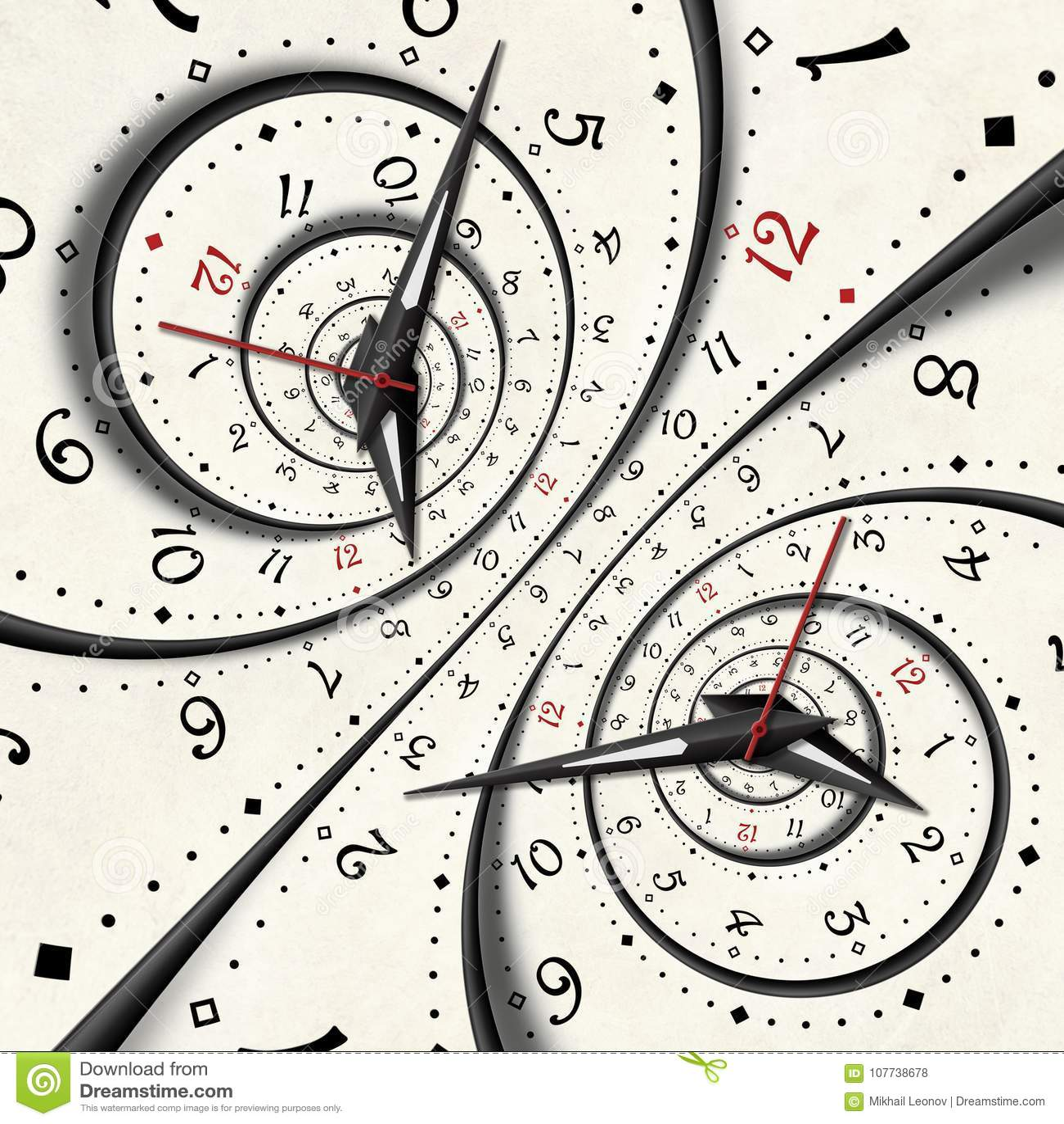 El fractal espiral surrealista blanco moderno abstracto del reloj torció el fondo abstracto inusual de la textura del reloj Giro