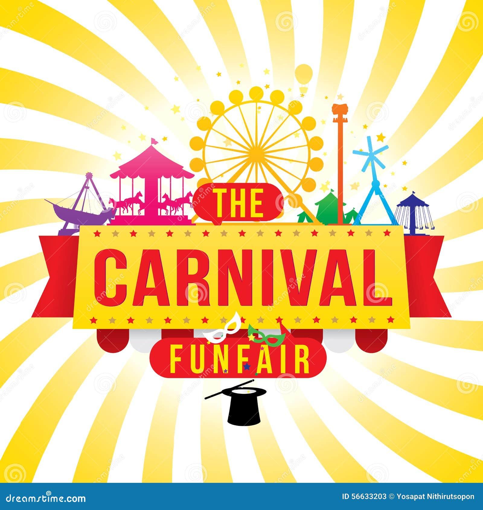 El funfair del carnaval y la demostración mágica