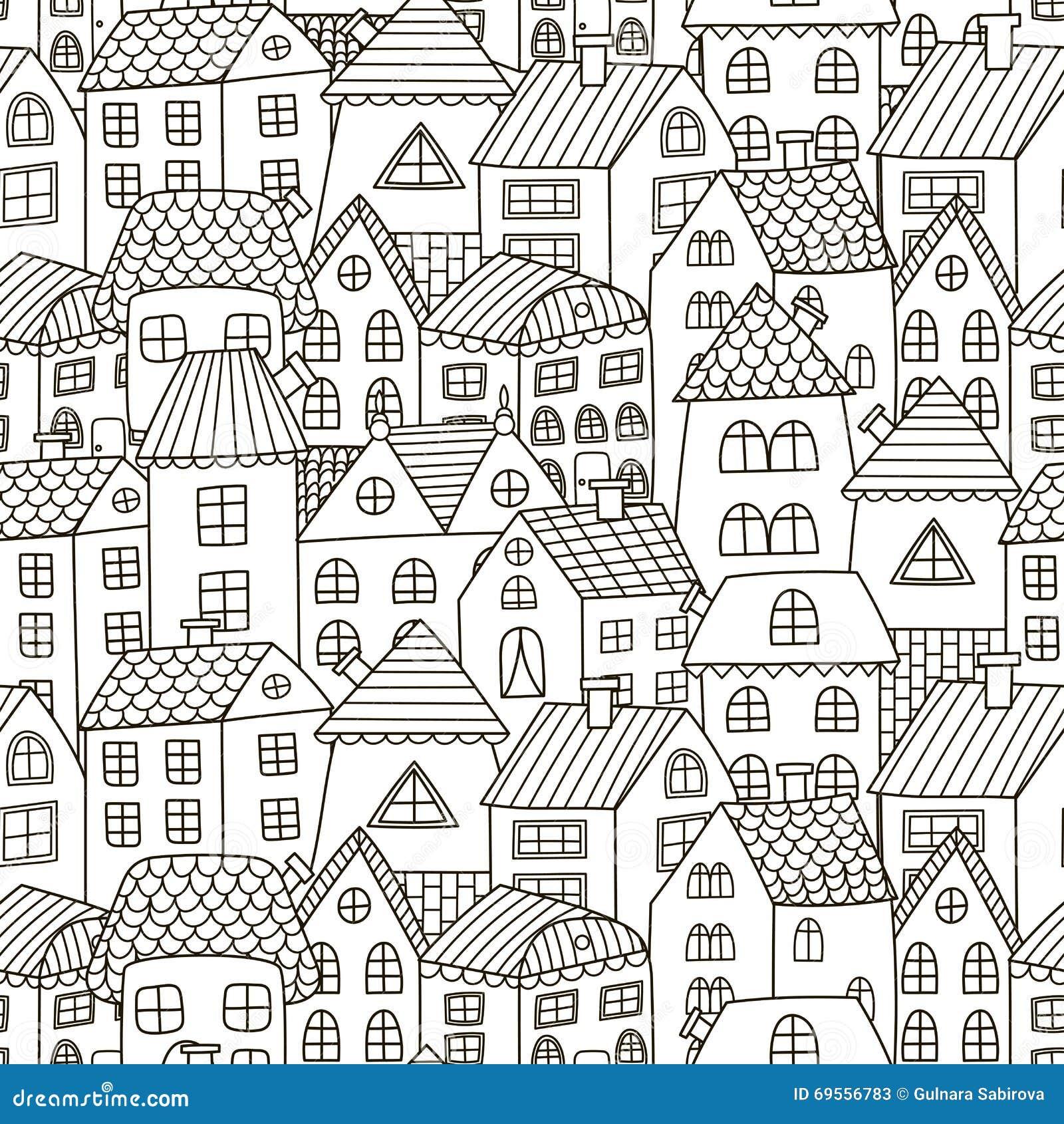 El garabato contiene el modelo inconsútil Fondo blanco y negro de la ciudad