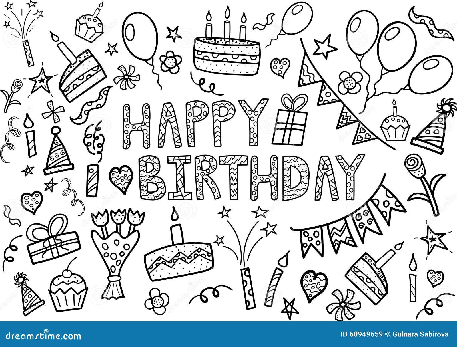 El garabato del feliz cumpleaños fijó con los elementos dibujados mano