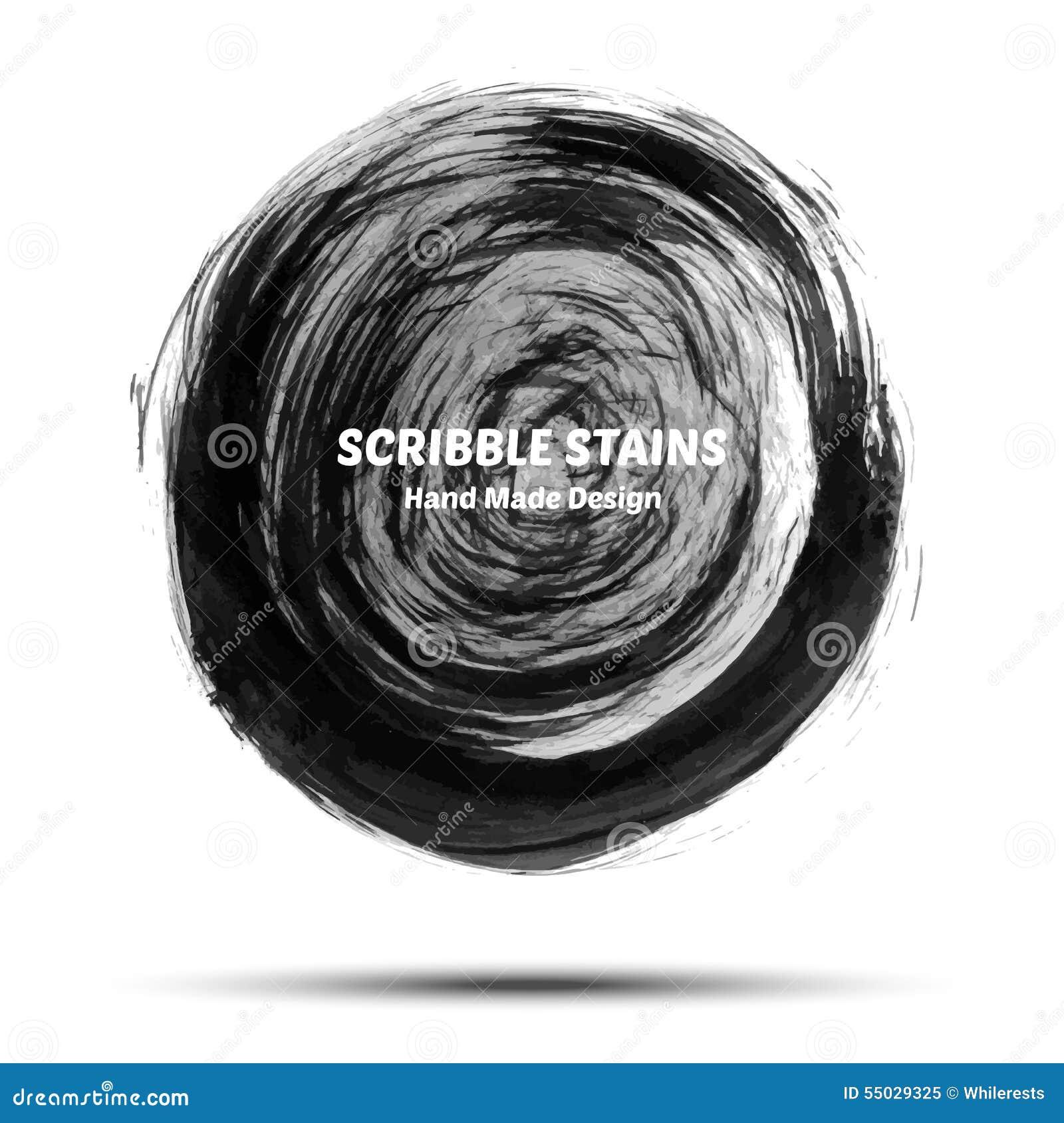 El garabato mancha la mano dibujada en cepillo Elementos del logotipo del vector