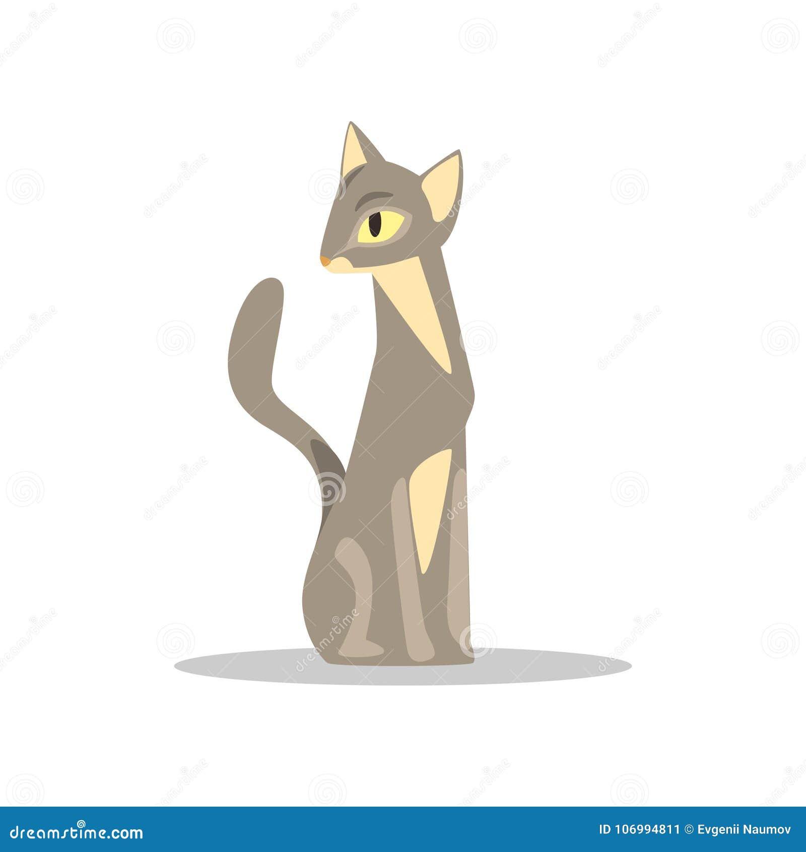 El Gato De Pelo Corto Elegante Con Color Y Amarillo Gris Beige
