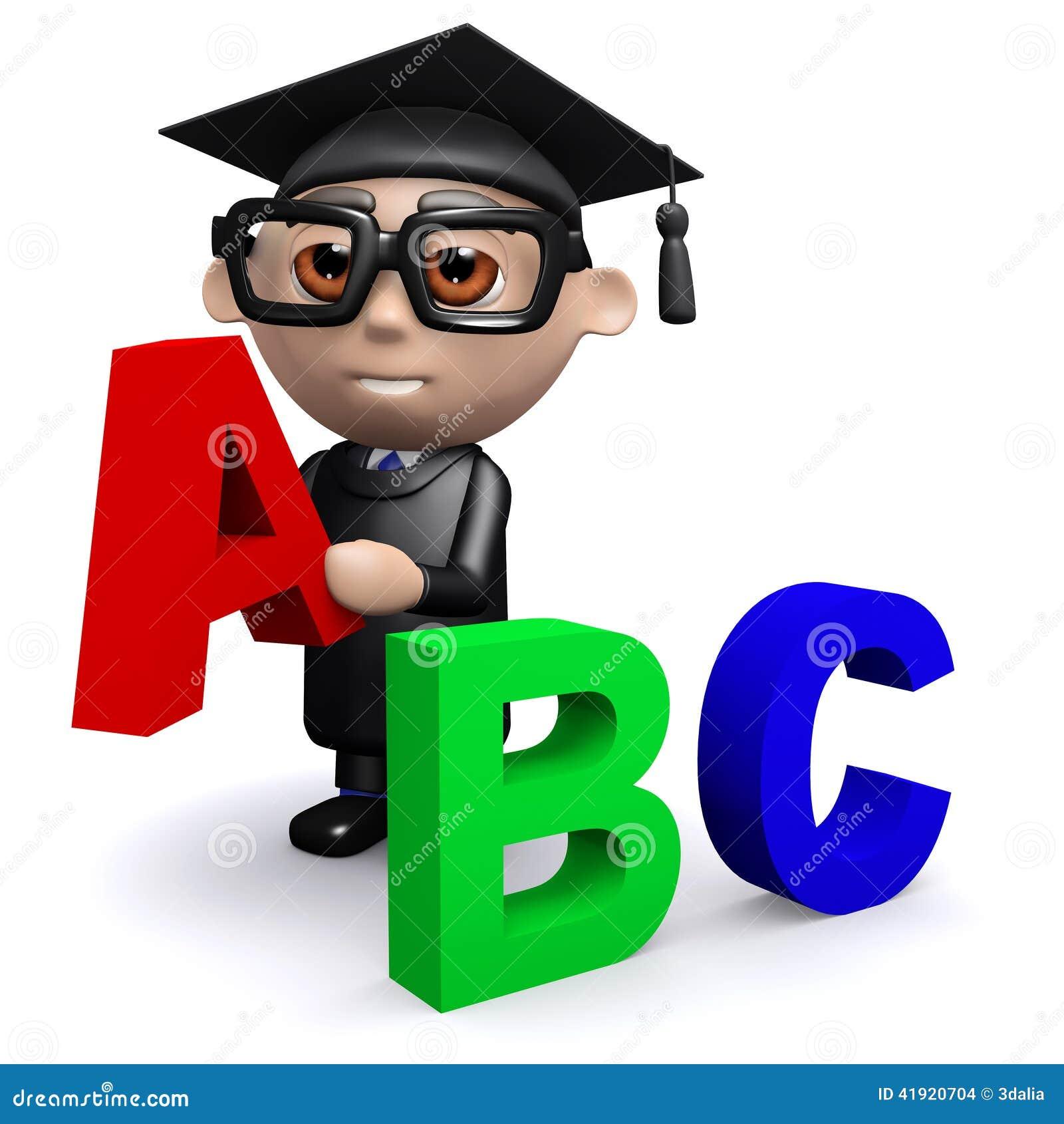 El graduado 3d enseña al alfabeto
