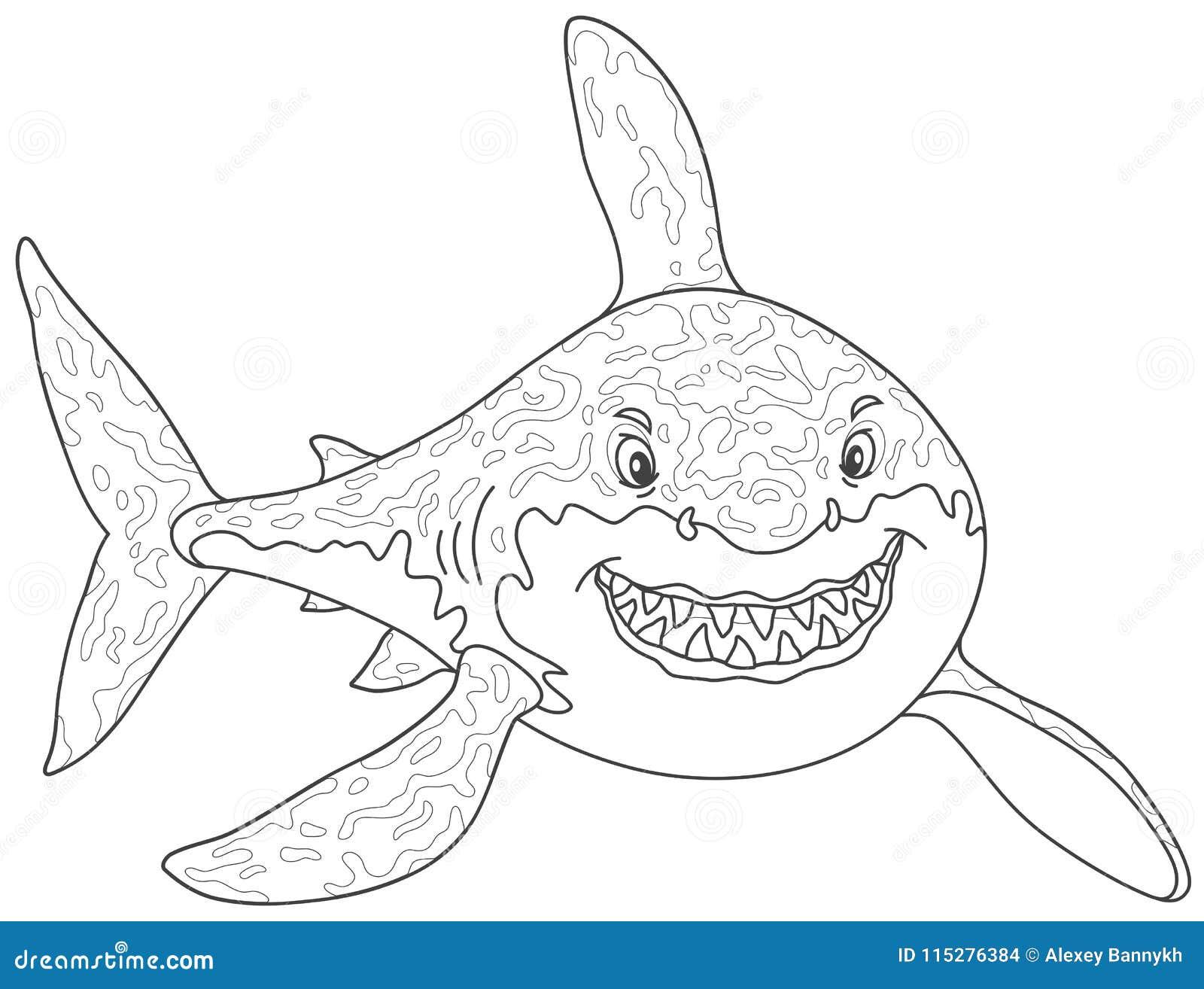 El Gran Atacar Del Tiburón Blanco Ilustración Del Vector