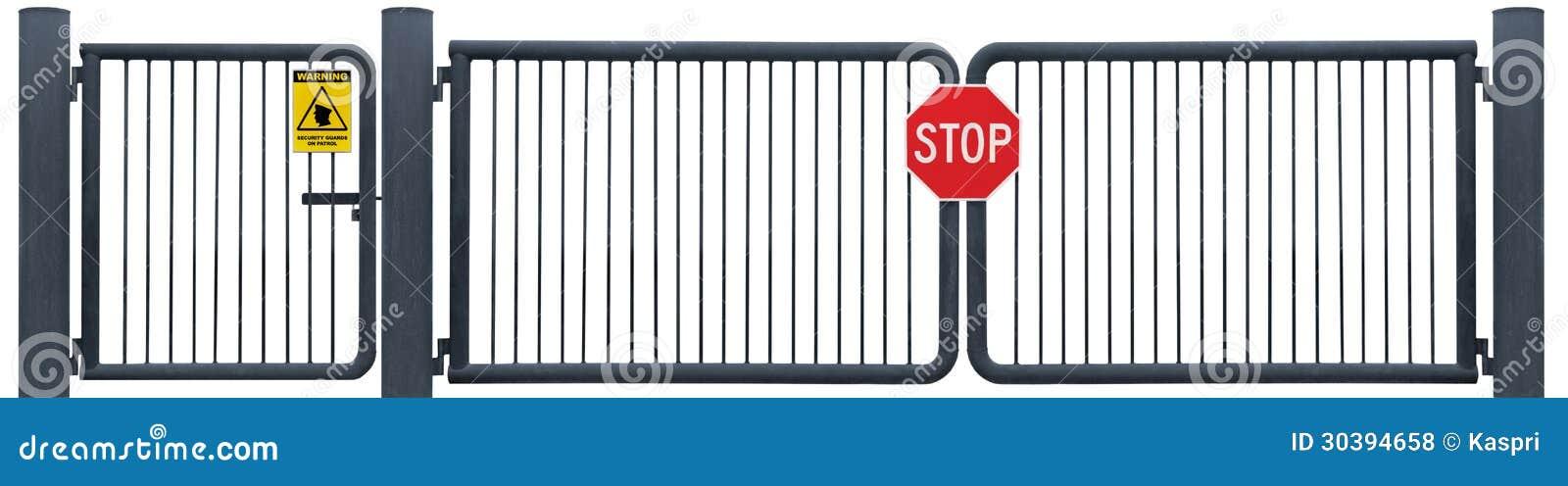 El Grunge envejeció la muestra resistida de la parada de la puerta de la barrera del camino, advertencia amarilla de la patrulla d