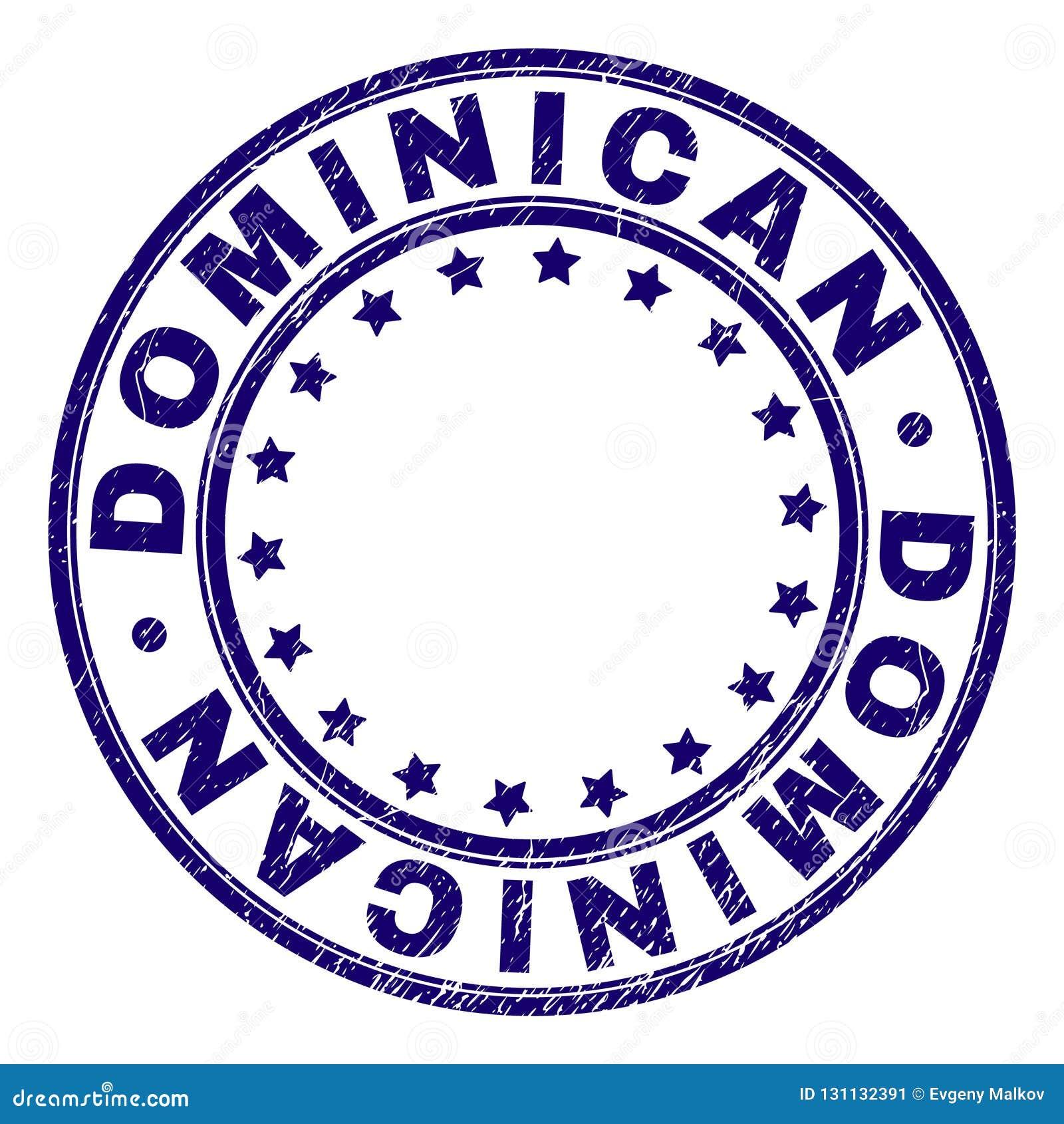 El Grunge texturizó el sello redondo DOMINICANO del sello