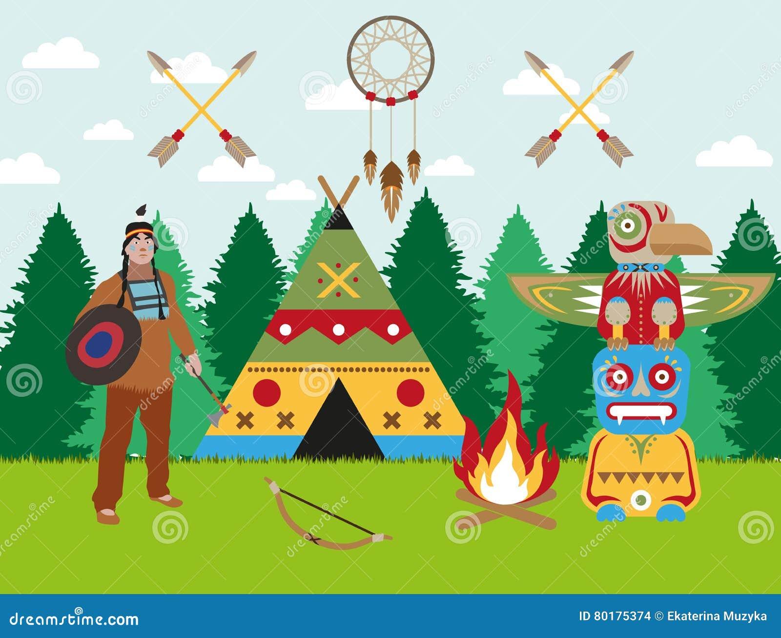 El Guerrero, La Tienda India Y El Tótem Indios Americanos Del ...