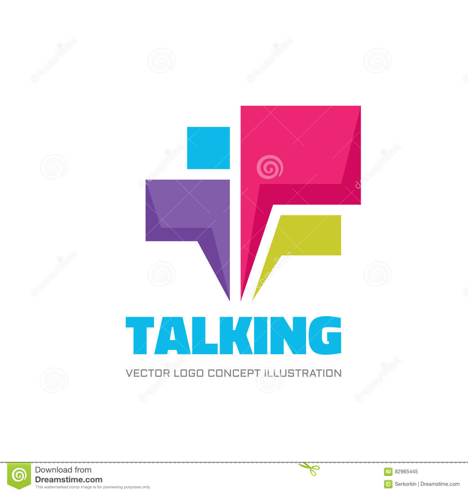 El hablar - el discurso burbujea ejemplo del concepto del logotipo del vector en estilo plano Icono del diálogo muestra de la cha