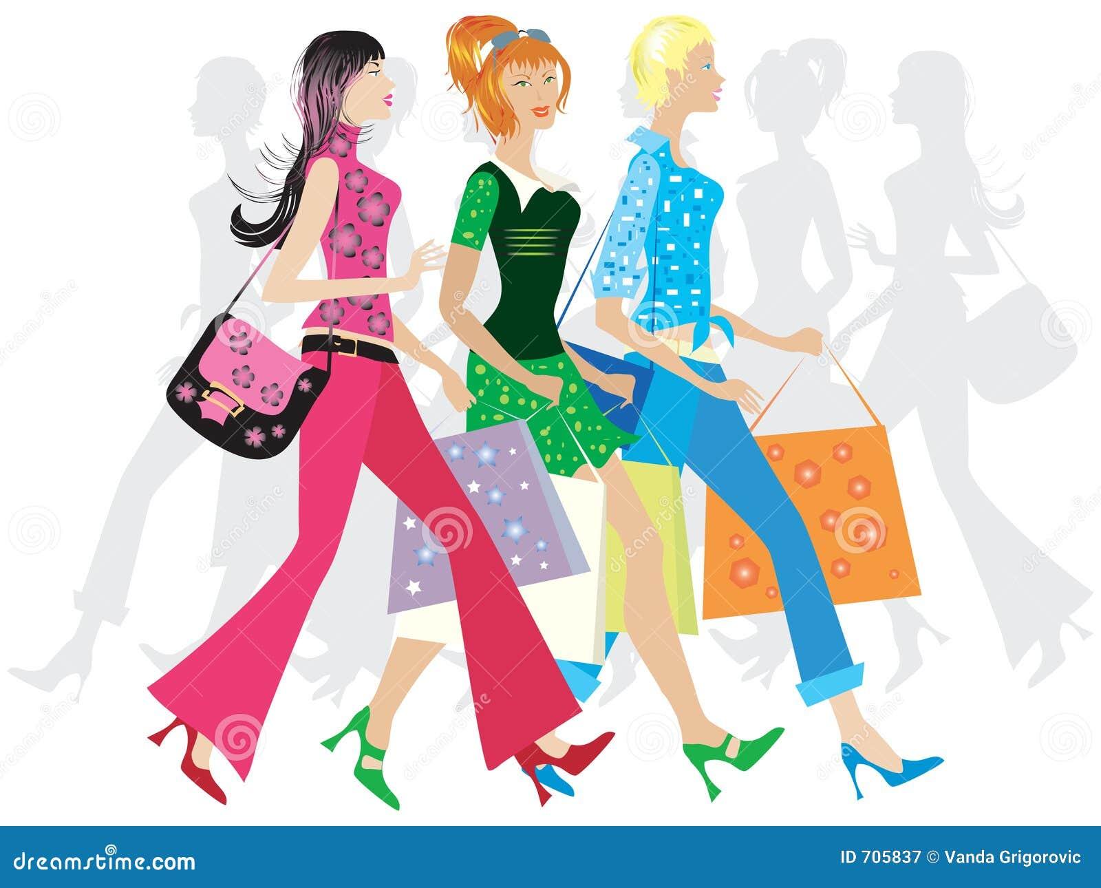 El hacer compras de las muchachas