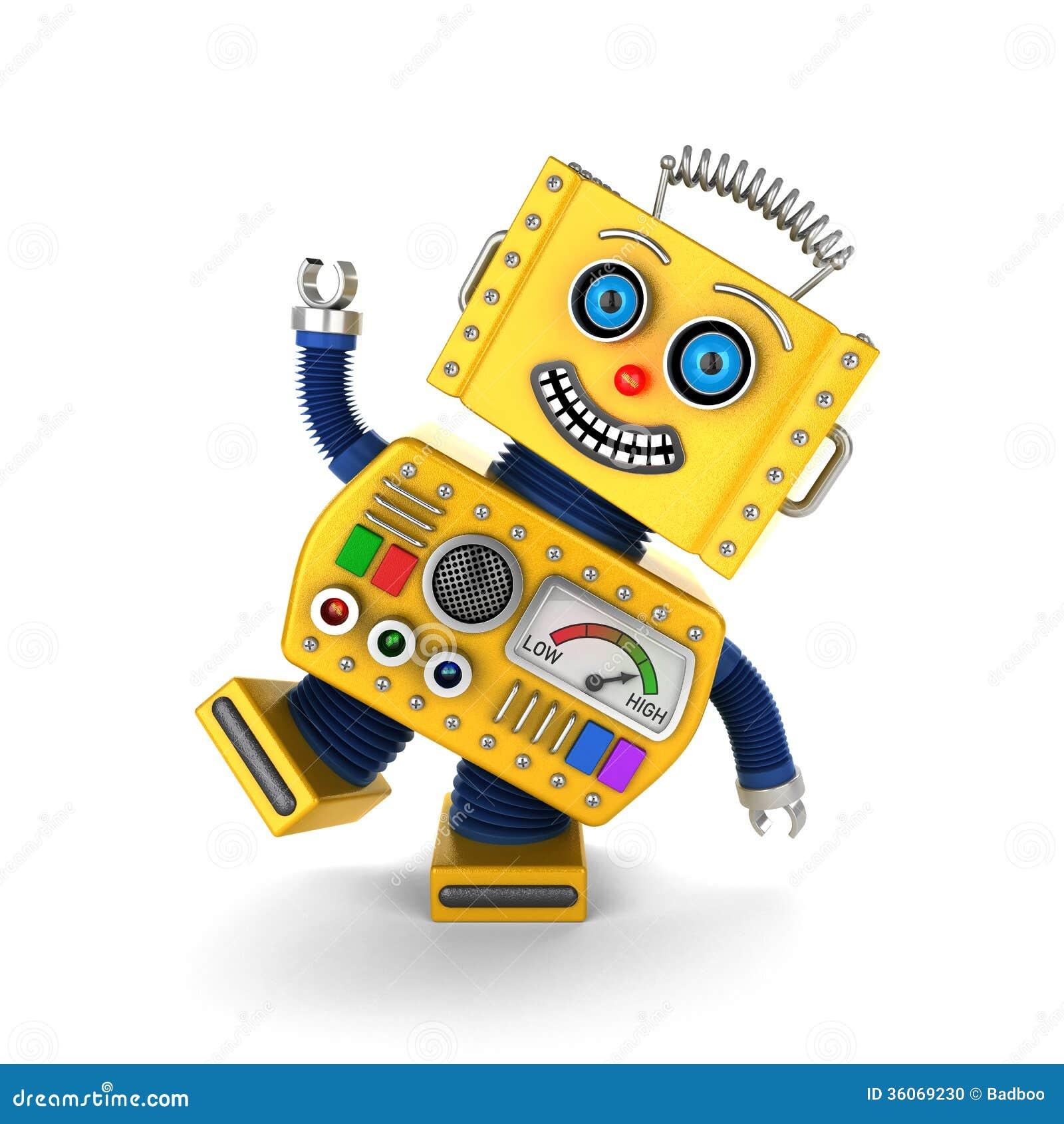 el hacer el tonto amarillo del robot del juguete del vintage foto de archivo