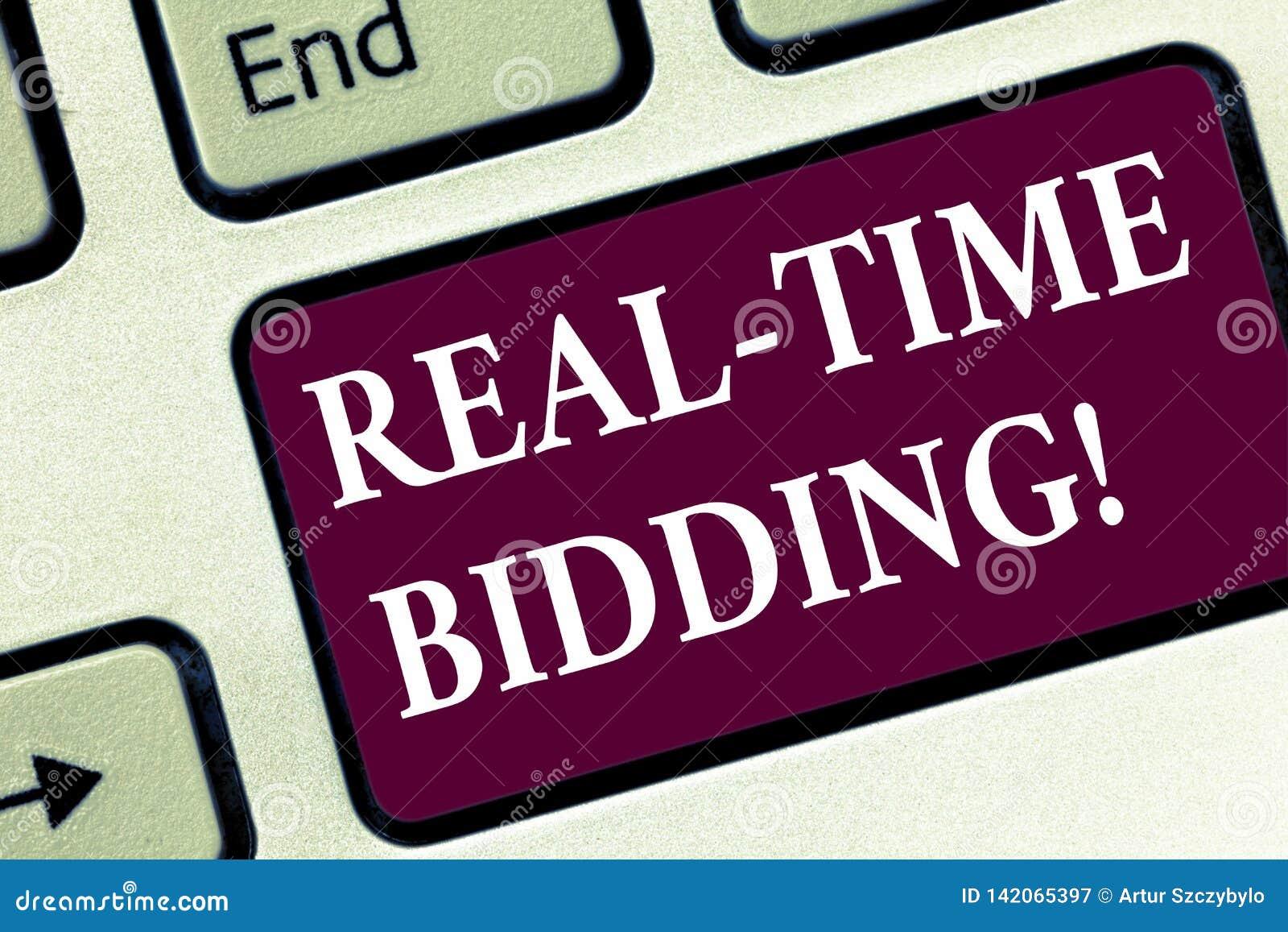 El hacer una oferta en tiempo real del texto de la escritura Compra del significado del concepto y vender la publicidad de invent