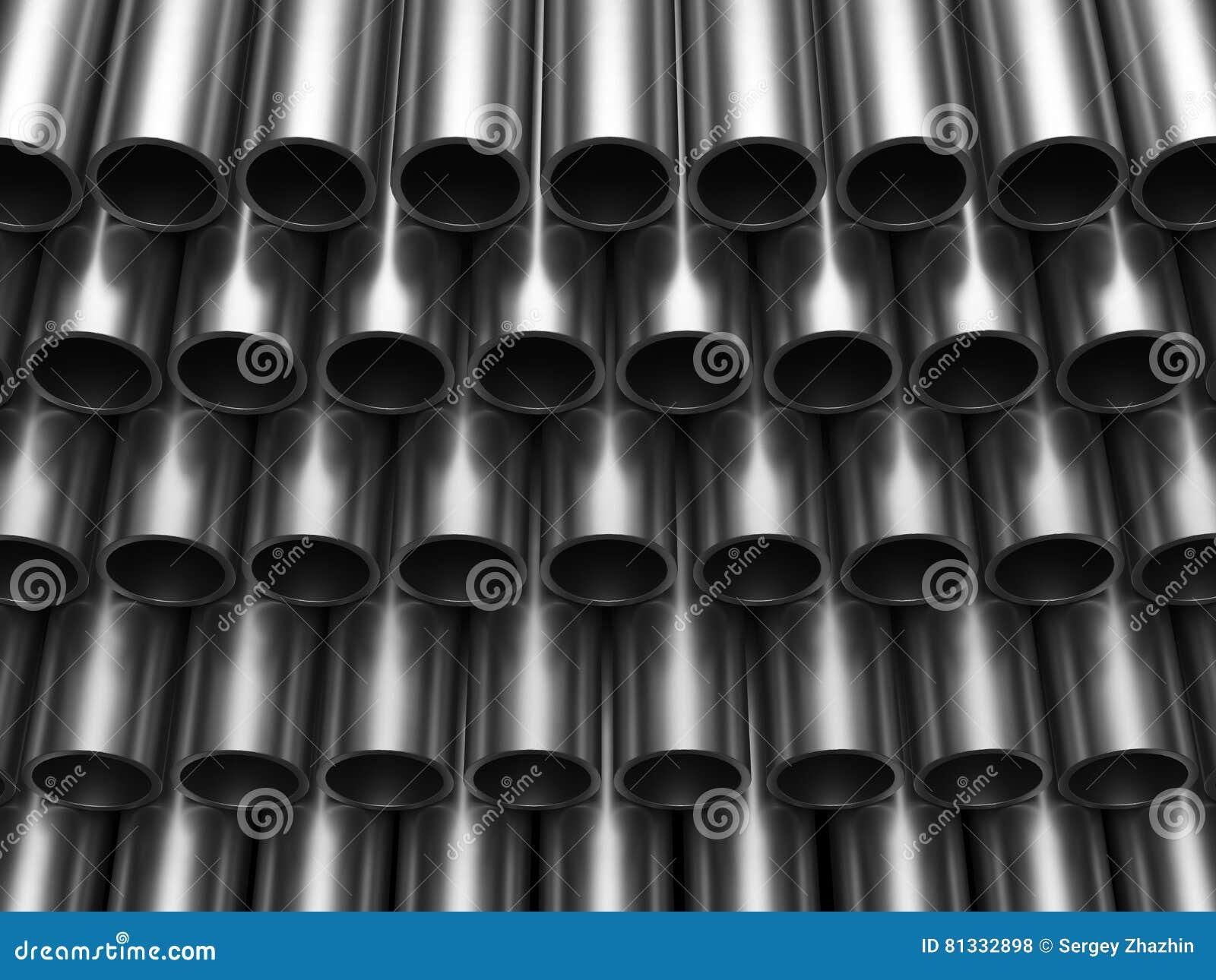 El hierro apilado del metal instala tubos la representación 3D