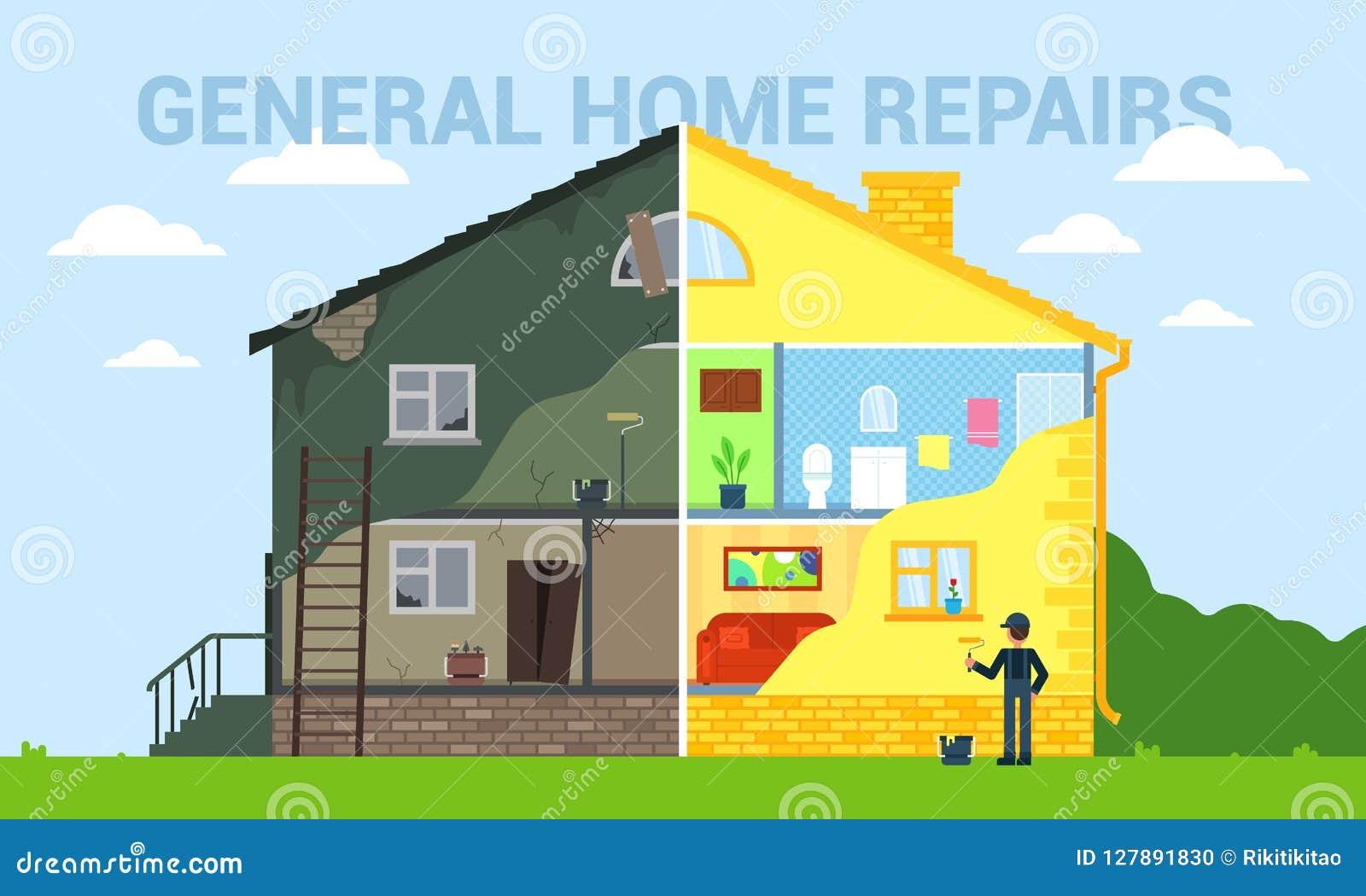 El hogar general repara el ejemplo plano del vector del estilo