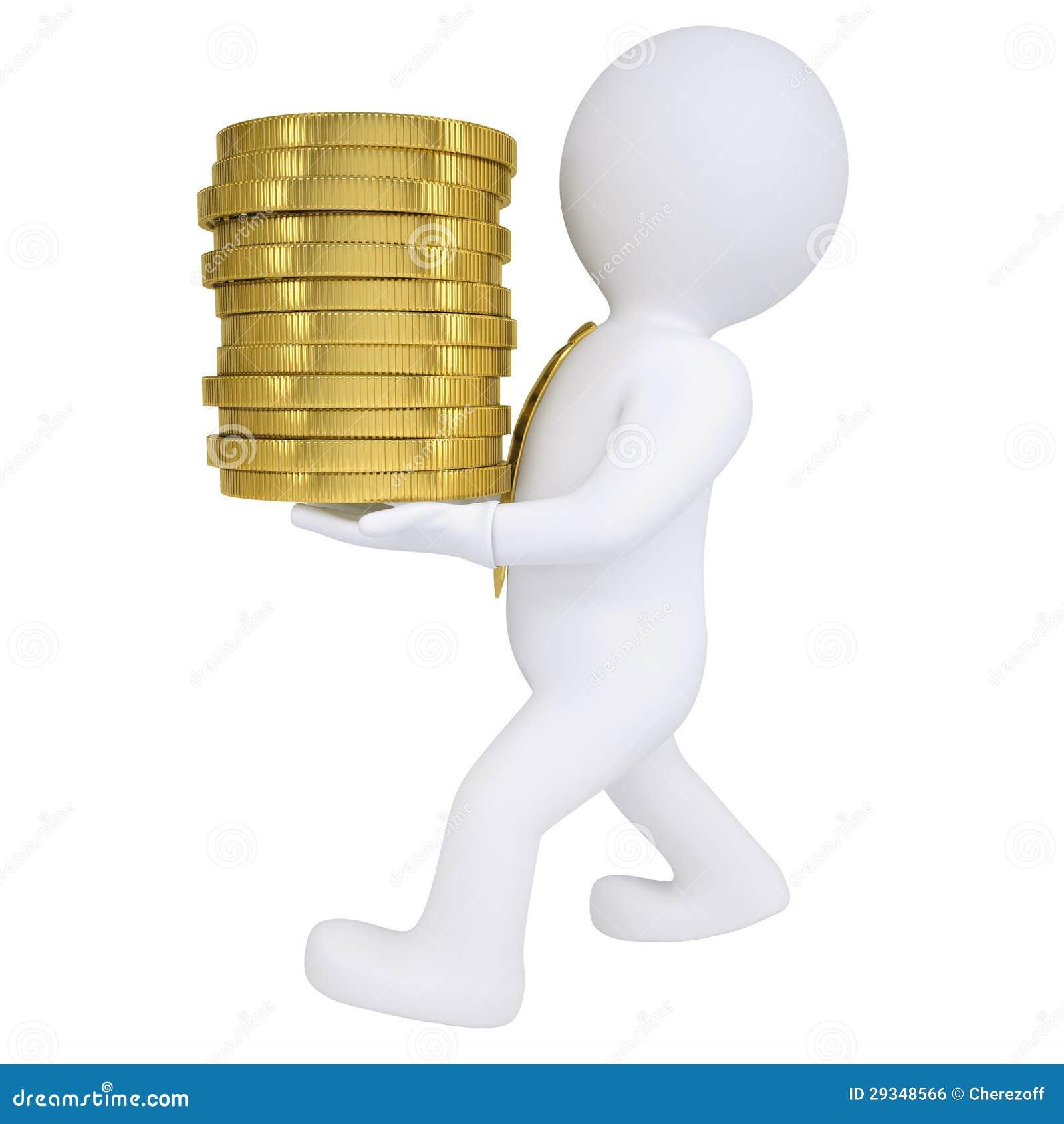 El hombre 3d lleva una moneda de oro