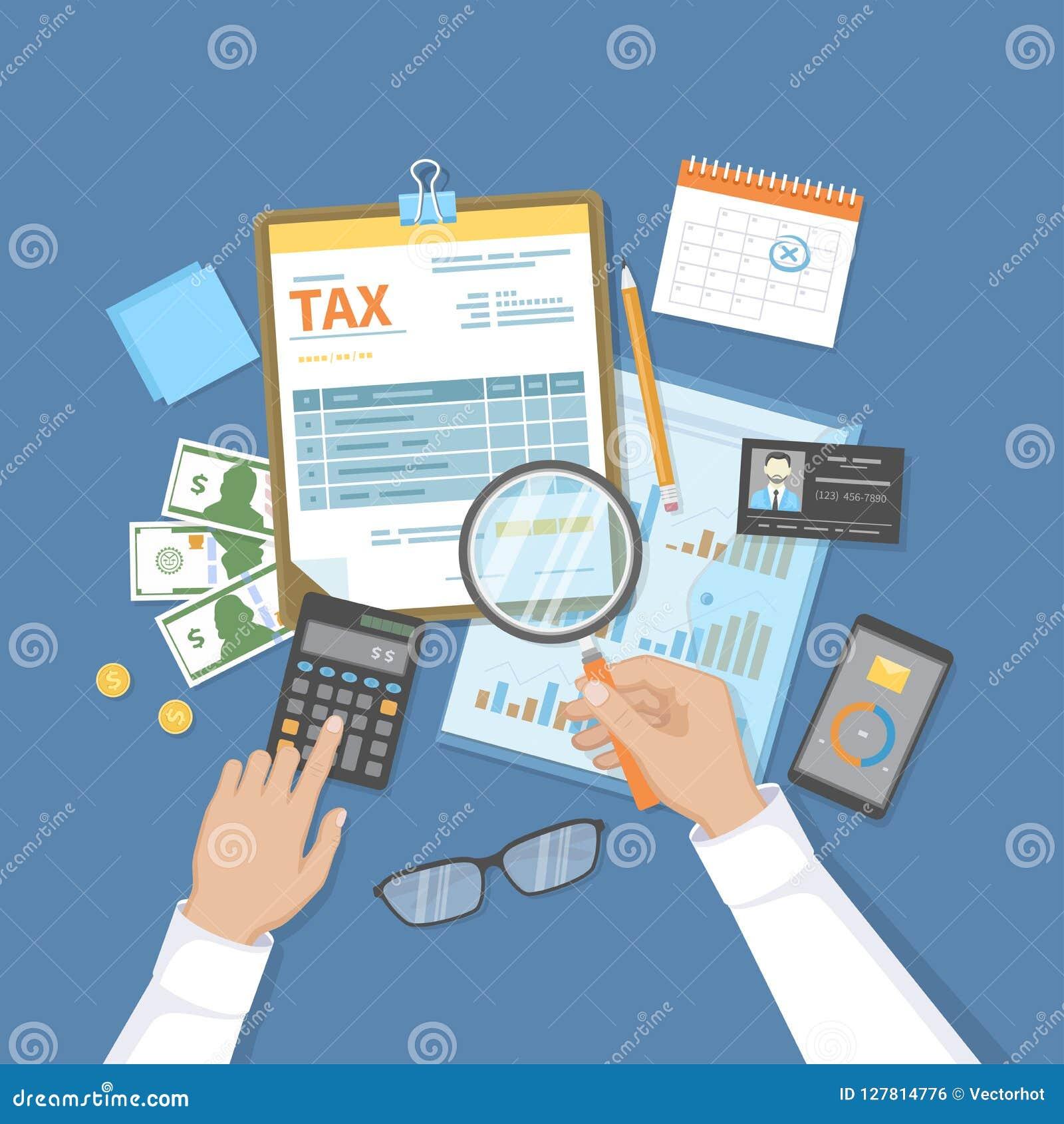 El hombre calcula impuesto El pago del impuesto, cuentas, carga en cuenta concepto Calendario financiero, dinero, forma de impues