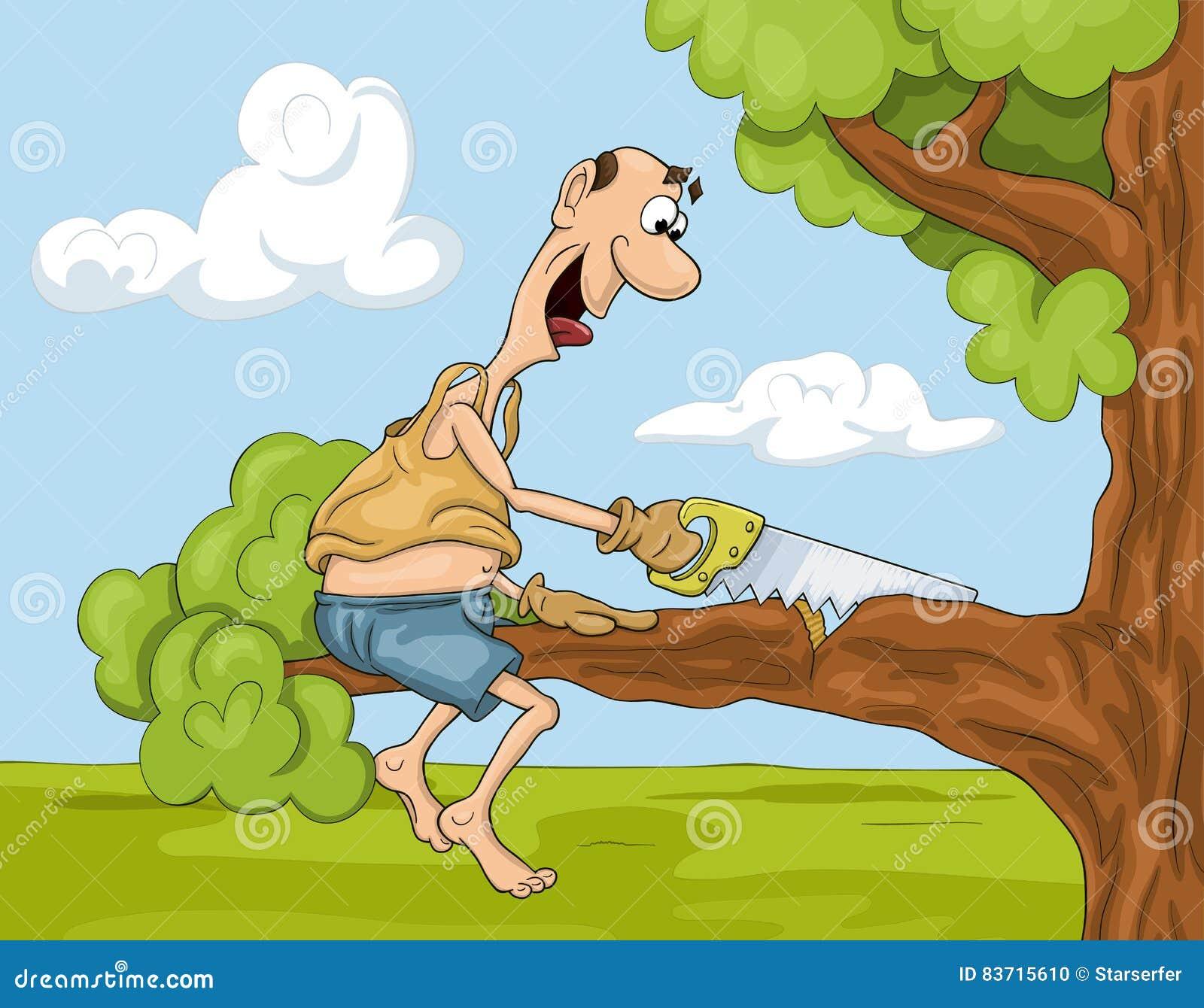 El hombre de la historieta con vio en el árbol