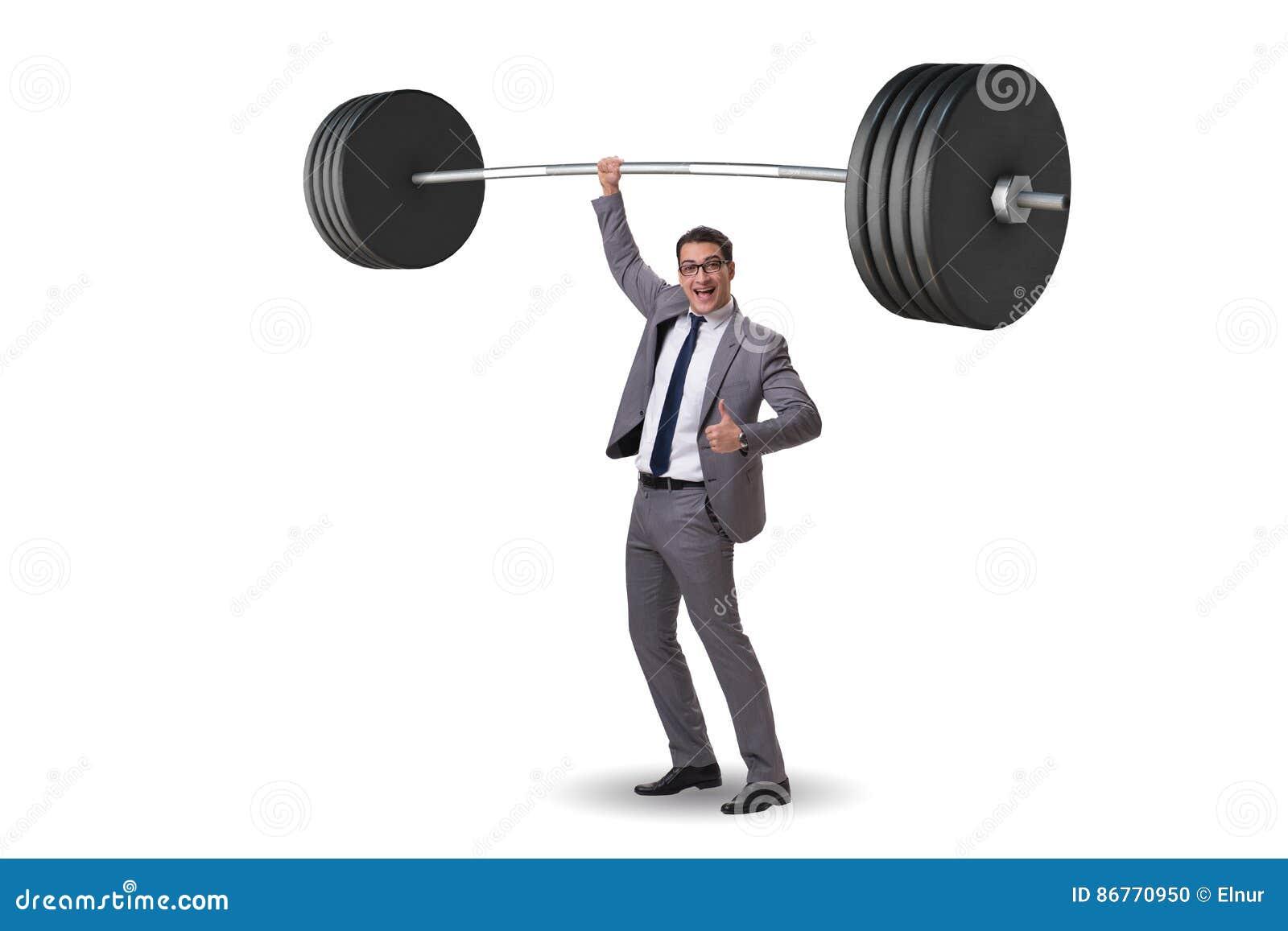 El hombre de negocios con el barbell en concepto de elevación pesado