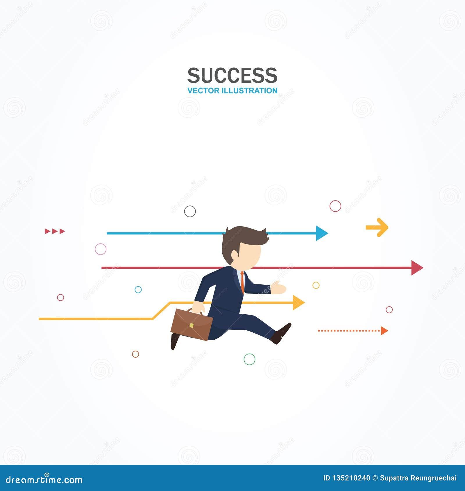 El hombre de negocios corre adelante al éxito