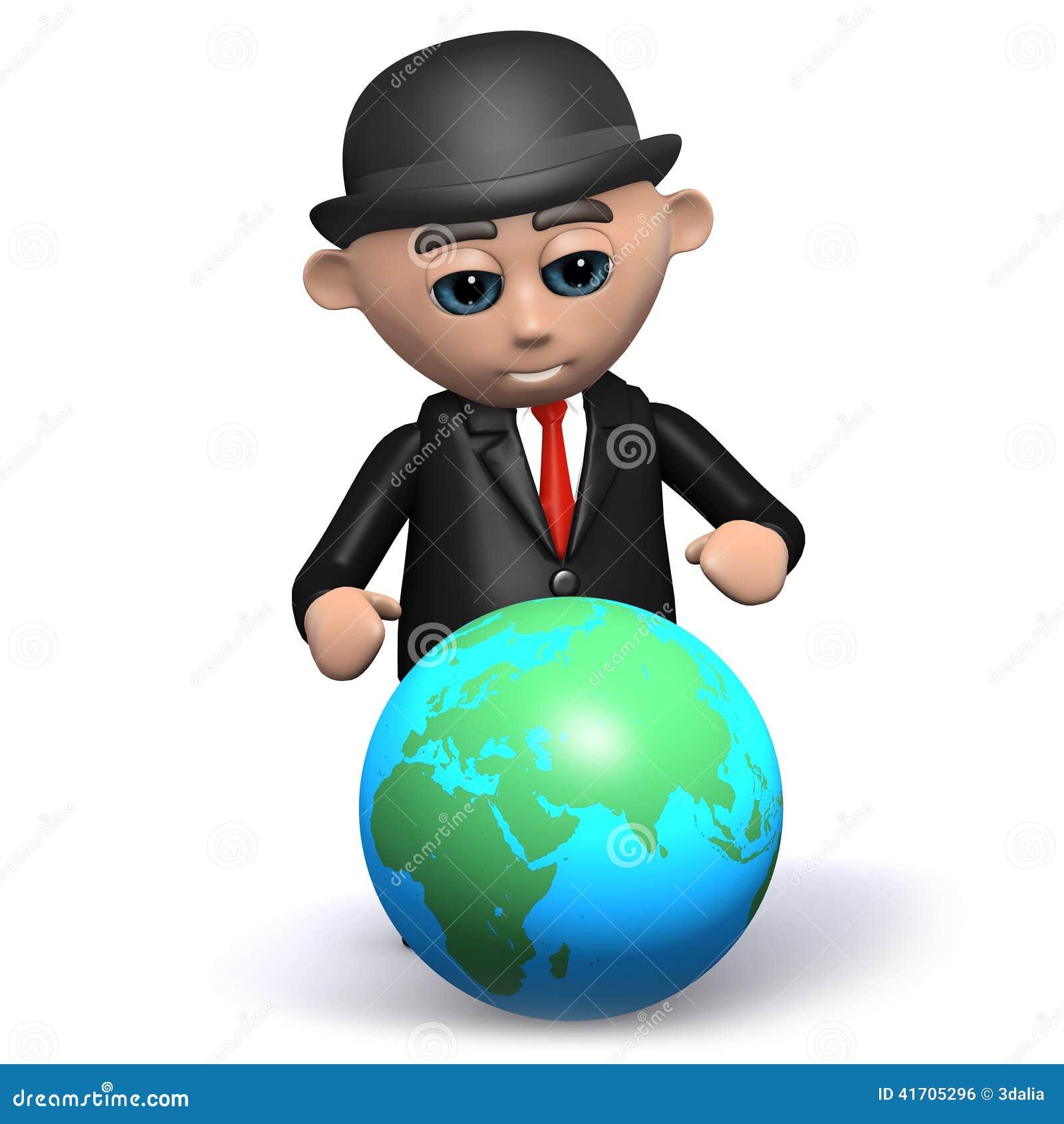 El hombre de negocios 3d estudia el globo