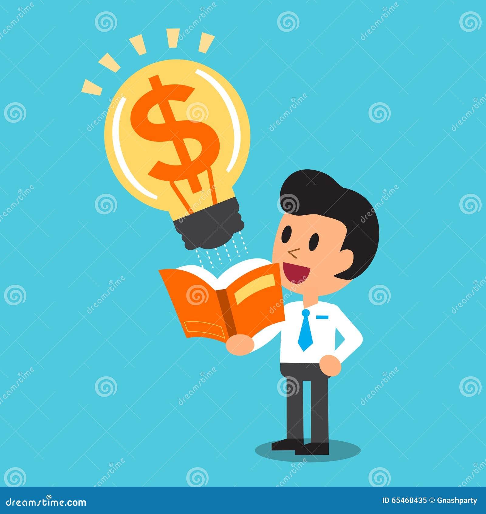 El hombre de negocios de la historieta abre un libro que tenga idea grande del dinero