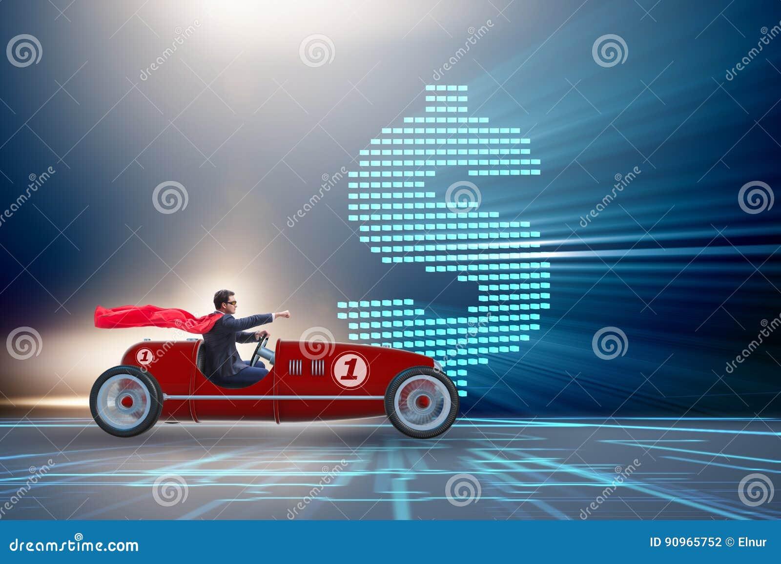 El hombre de negocios del super héroe que conduce al automóvil descubierto del vintage