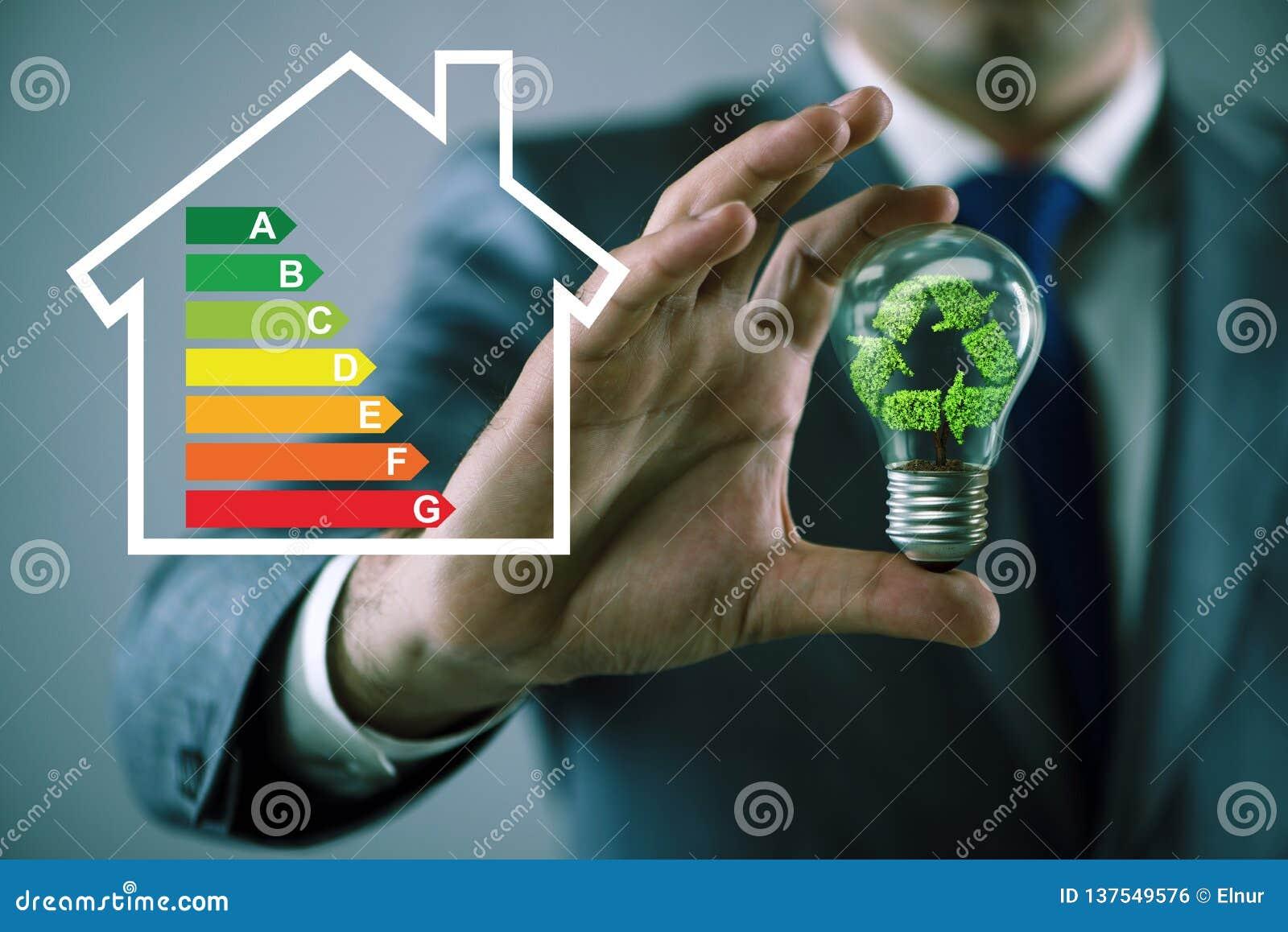 El hombre de negocios en concepto del rendimiento energético