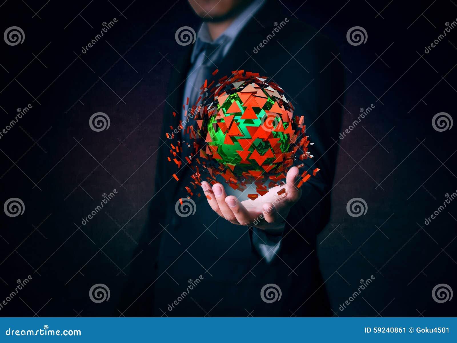 El hombre de negocios lleva a cabo la explosión roja y verde disponible en fondo