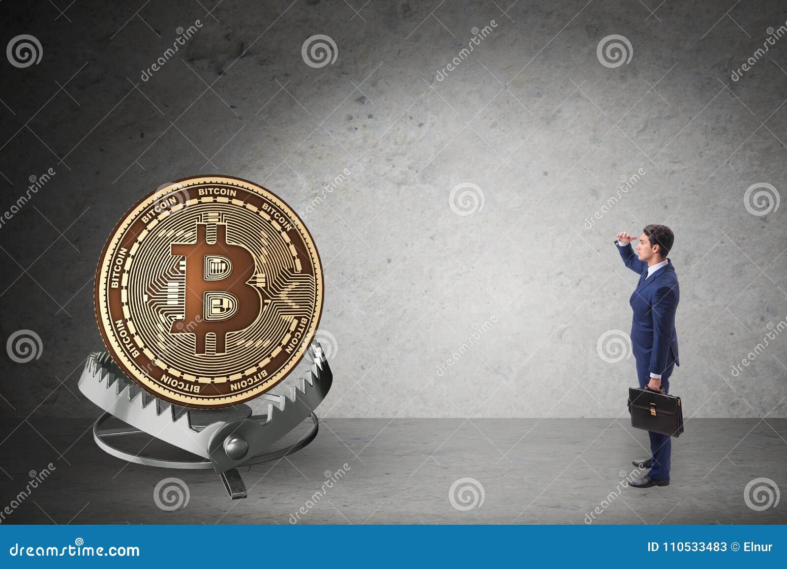 El hombre de negocios que cae en la trampa del cryptocurrency del bitcoin