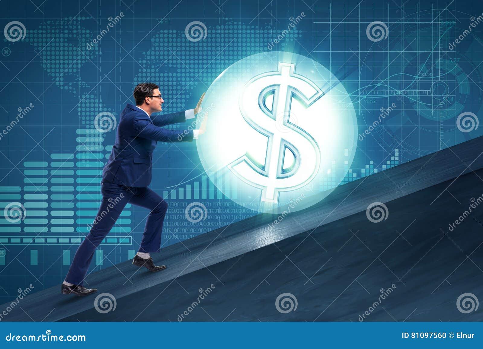 El hombre de negocios que empuja lejos la bola del dólar