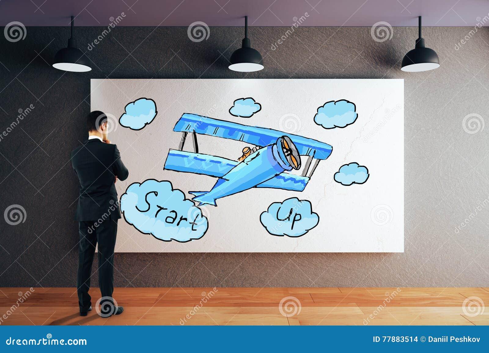 El Hombre De Negocios Que Mira Comienza Para Arriba Bosquejo Stock de ilustración