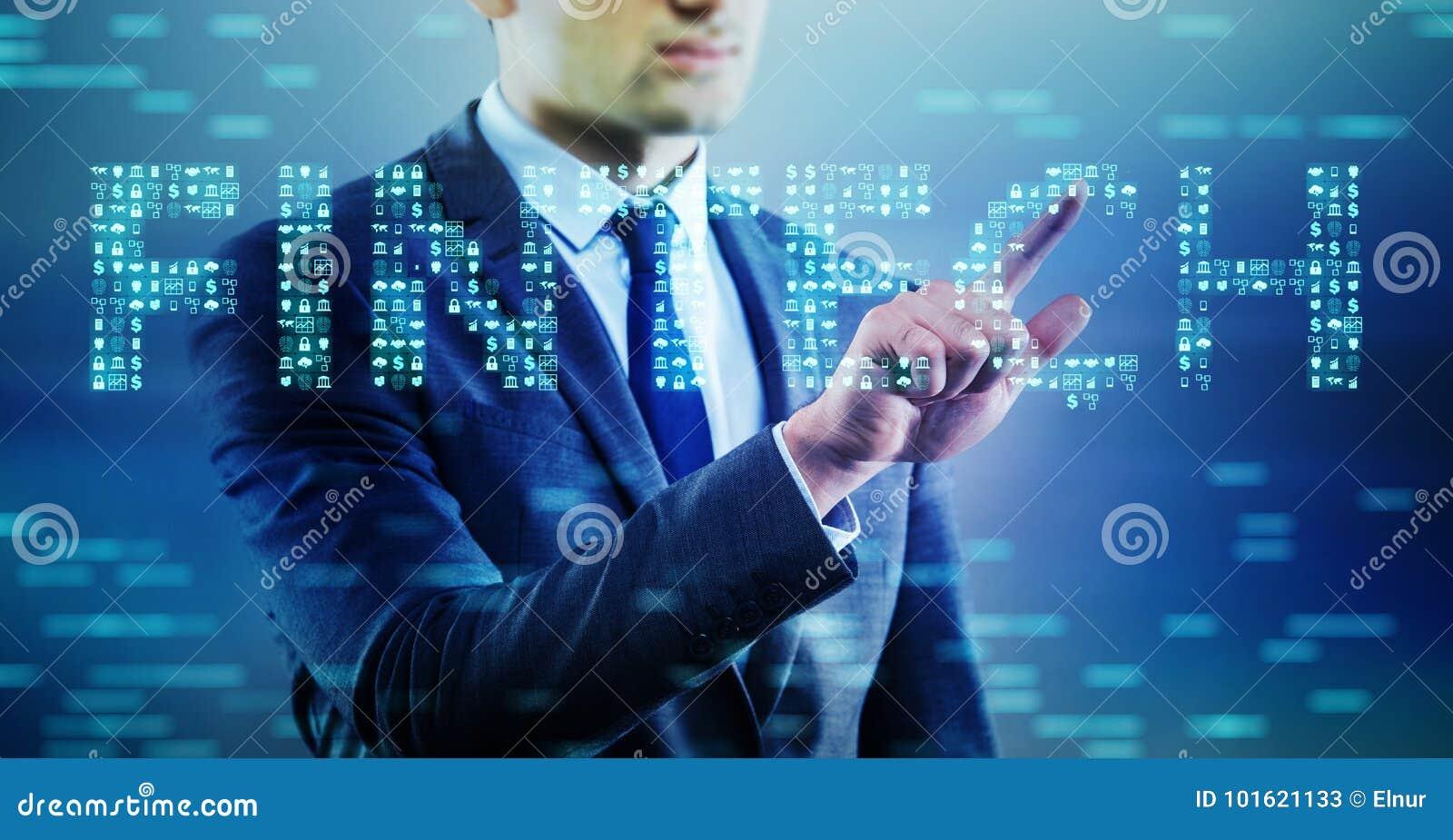 El hombre de negocios que presiona los botones en concepto del fintech