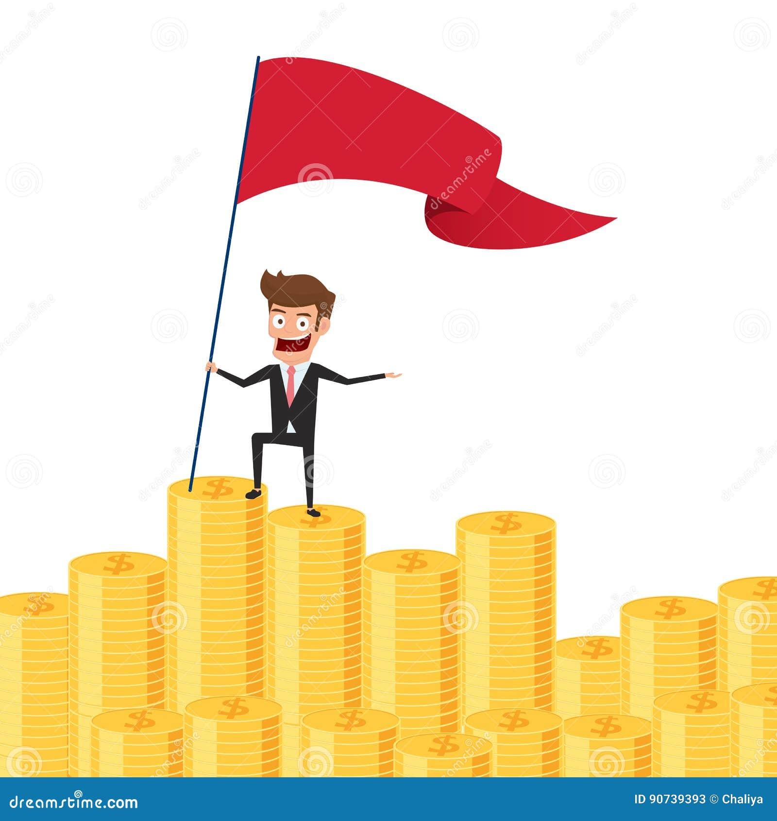 El hombre de negocios que se colocaba orgulloso en pila del dinero y fijó una bandera roja Concepto de la inversión y del ahorro