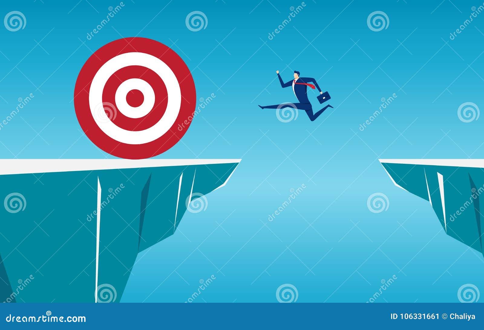 El hombre de negocios salta con los obstáculos del hueco entre la colina a la blanco grande y el éxito Funcionamiento y salto sob
