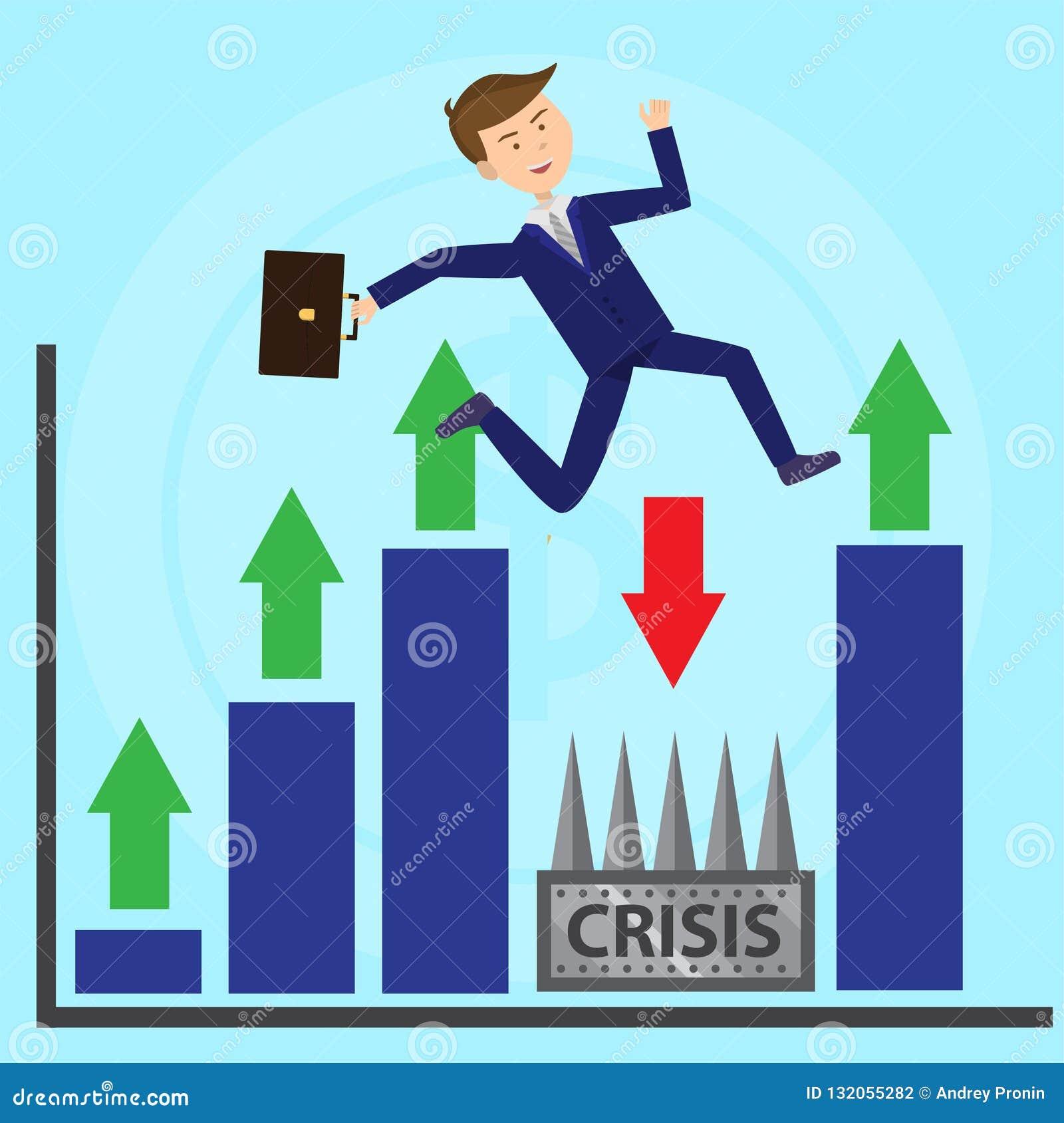 El hombre de negocios salta sobre crisis de escape de la profundidad completamente